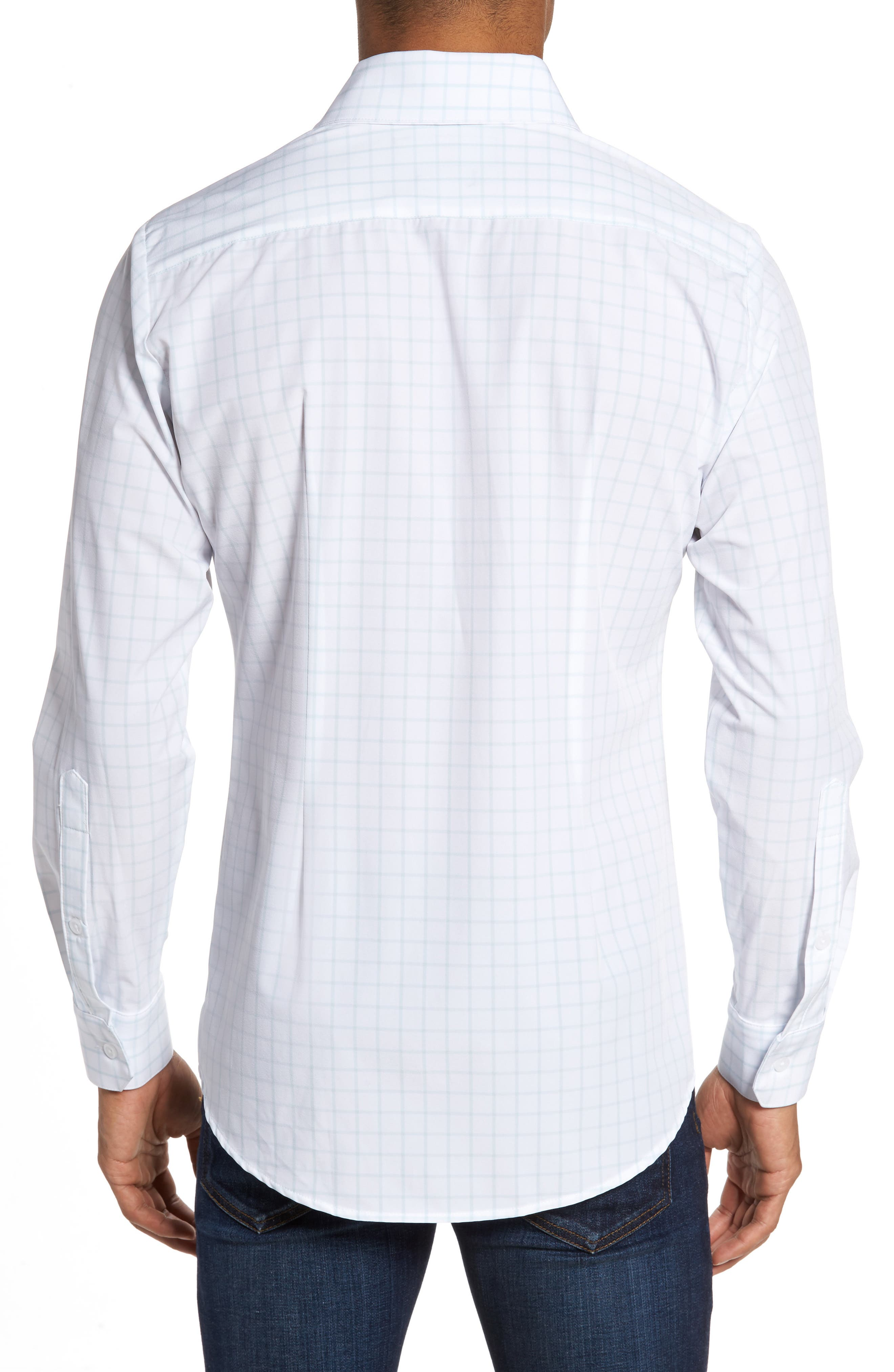 Blue Label Hull Slim Fit Crosshatch Sport Shirt,                             Alternate thumbnail 3, color,                             Blue