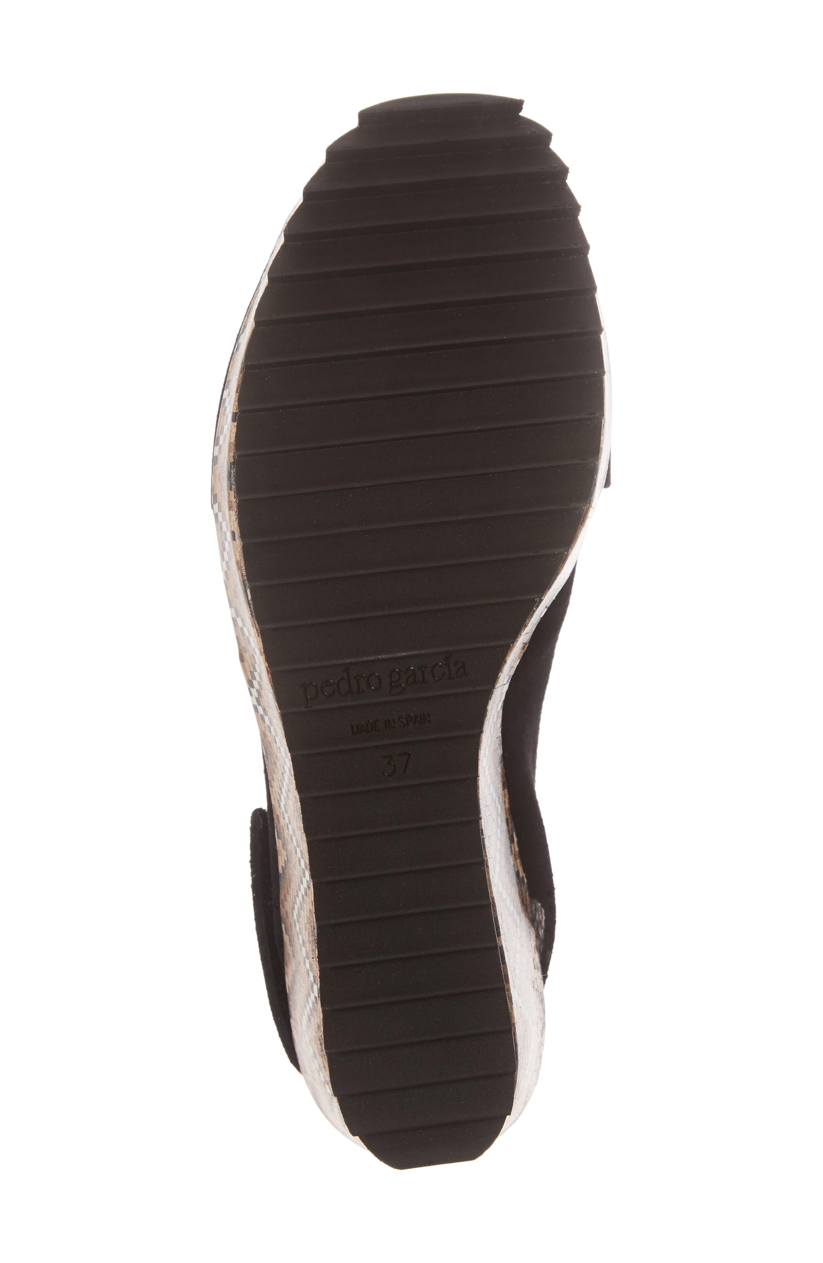 'Federica' Wedge Sandal,                             Alternate thumbnail 6, color,                             Black Castoro