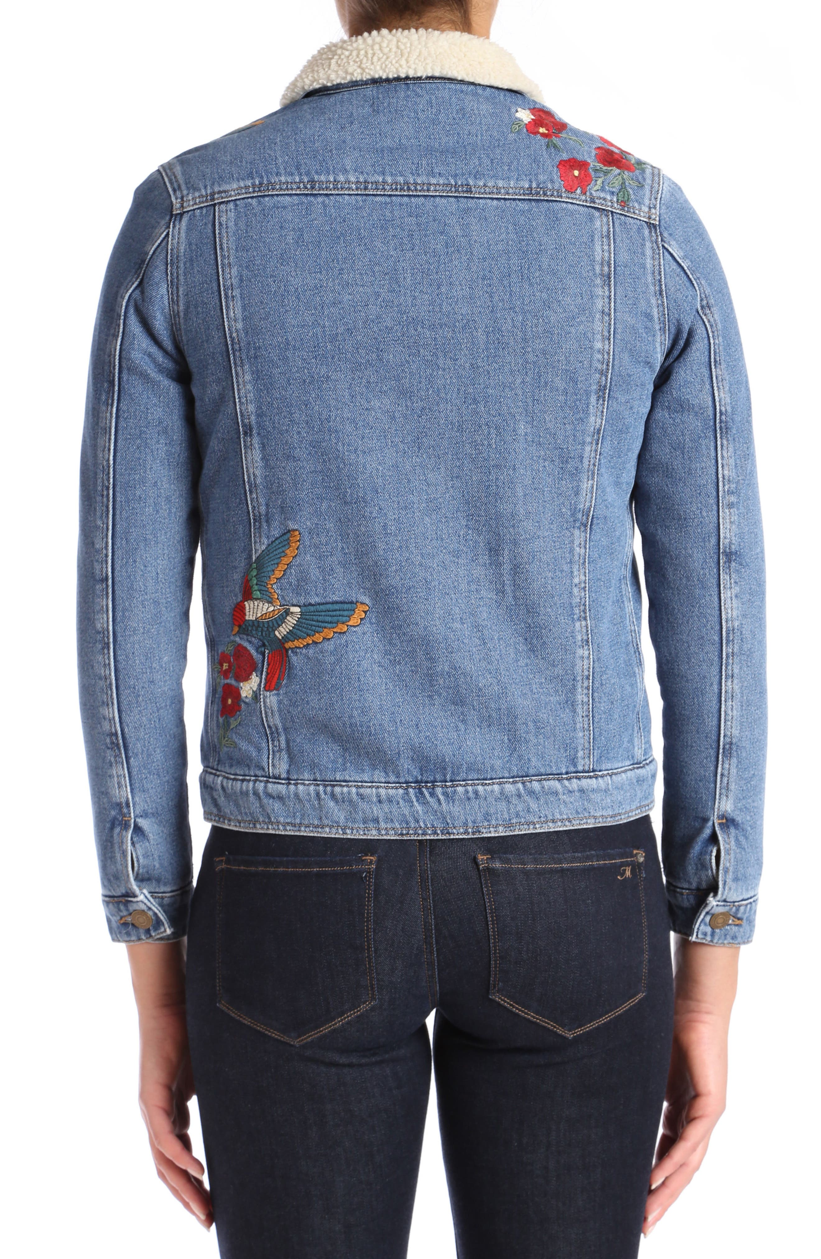 Katy Embroidered Denim Jacket,                             Alternate thumbnail 2, color,                             Mid Garden Embroidery