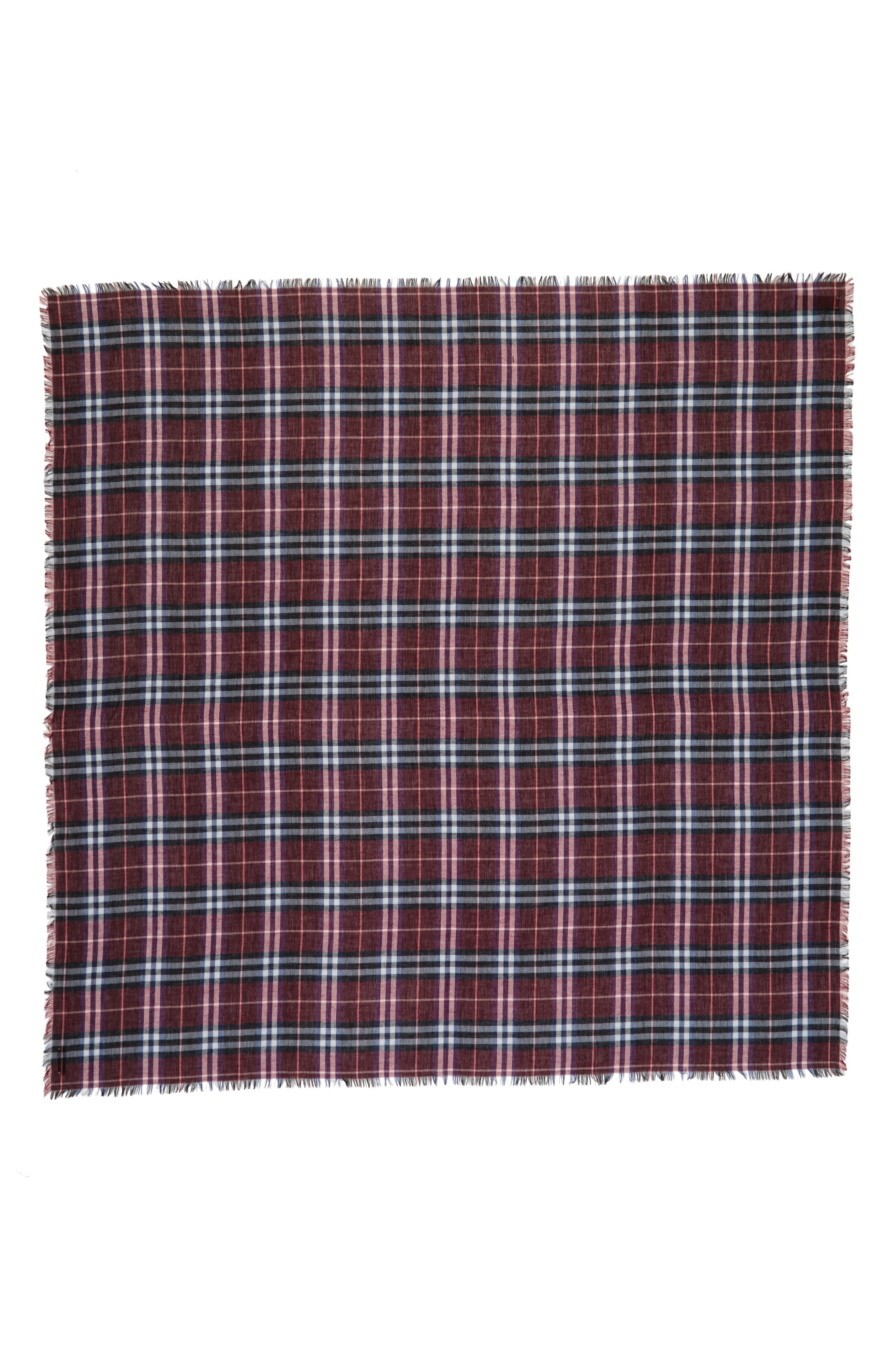 Castleford Check Wool & Modal Scarf,                             Alternate thumbnail 3, color,                             Claret