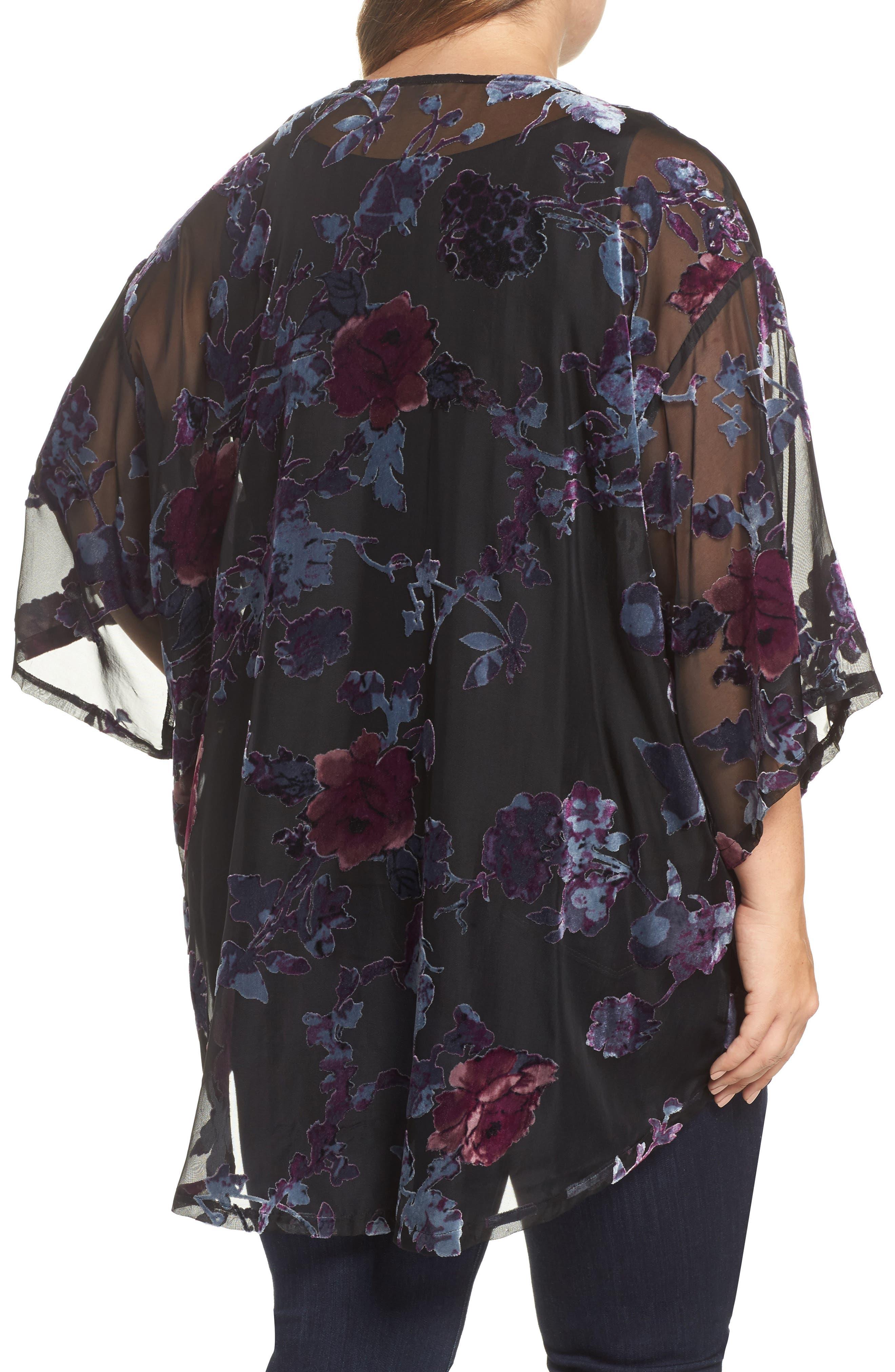 Burnout Velvet Kimono Jacket,                             Alternate thumbnail 2, color,                             Black