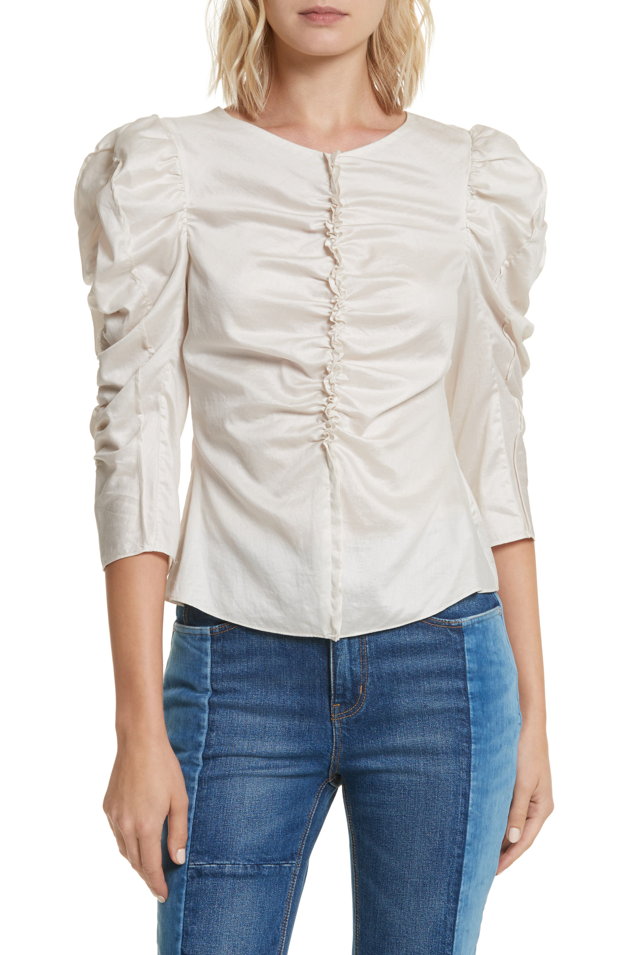 Washed Sateen Top,                         Main,                         color, Sand