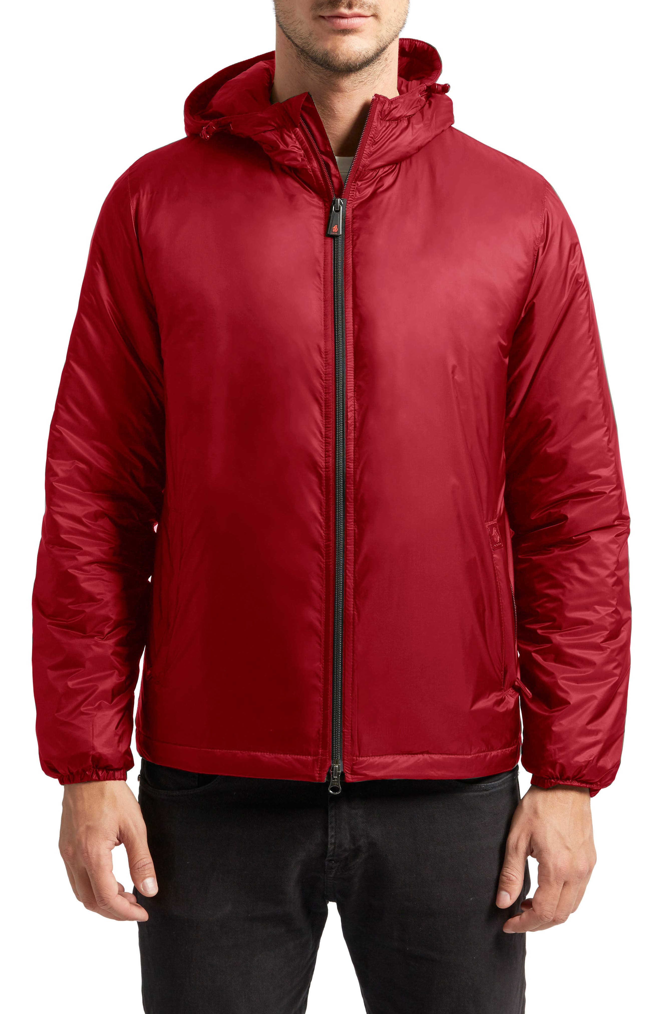 Arvada Packable Heat System Hooded Jacket,                         Main,                         color, Cardinal