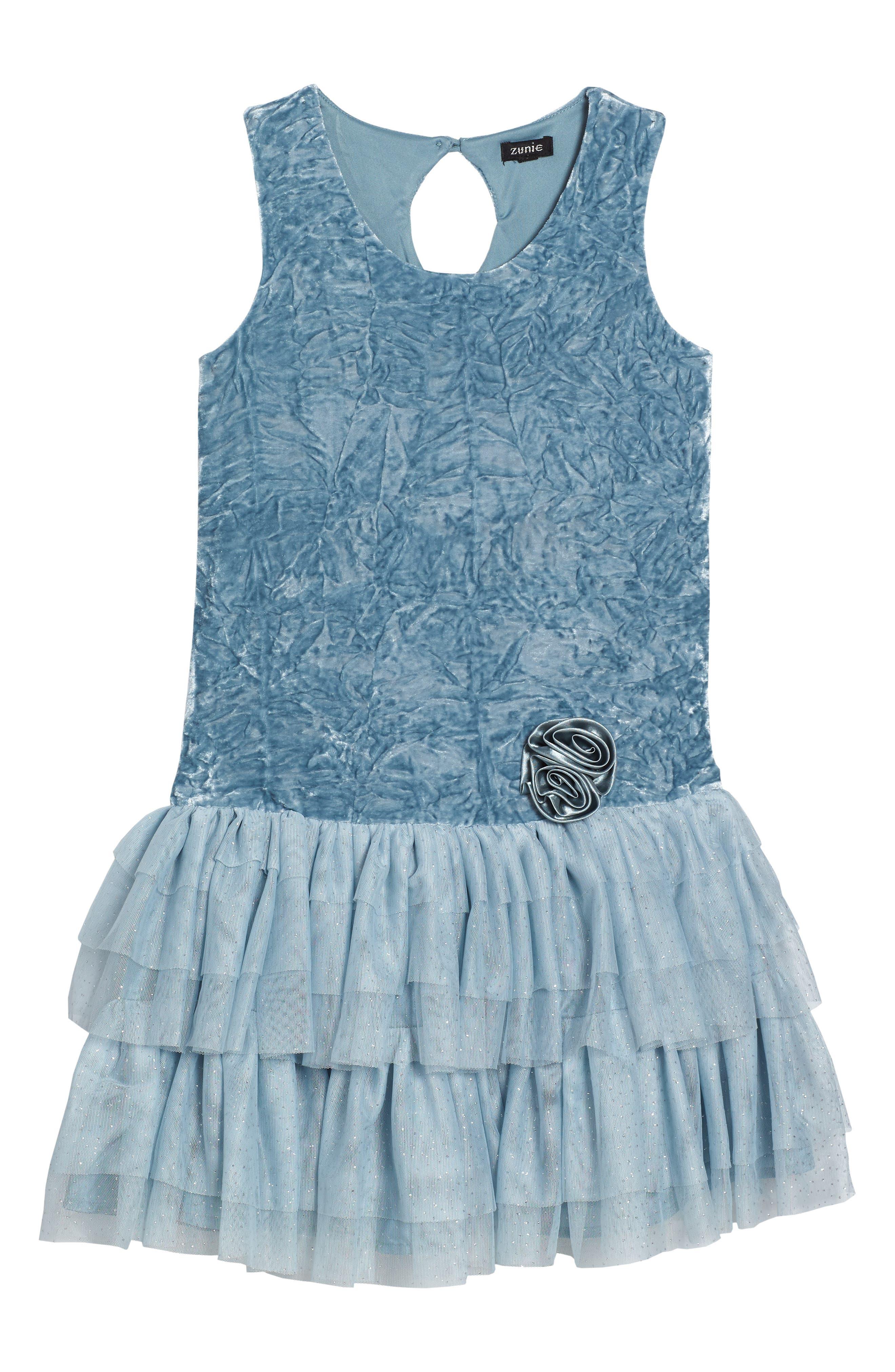 Crushed Velvet & Tulle Dress,                         Main,                         color, Light Blue