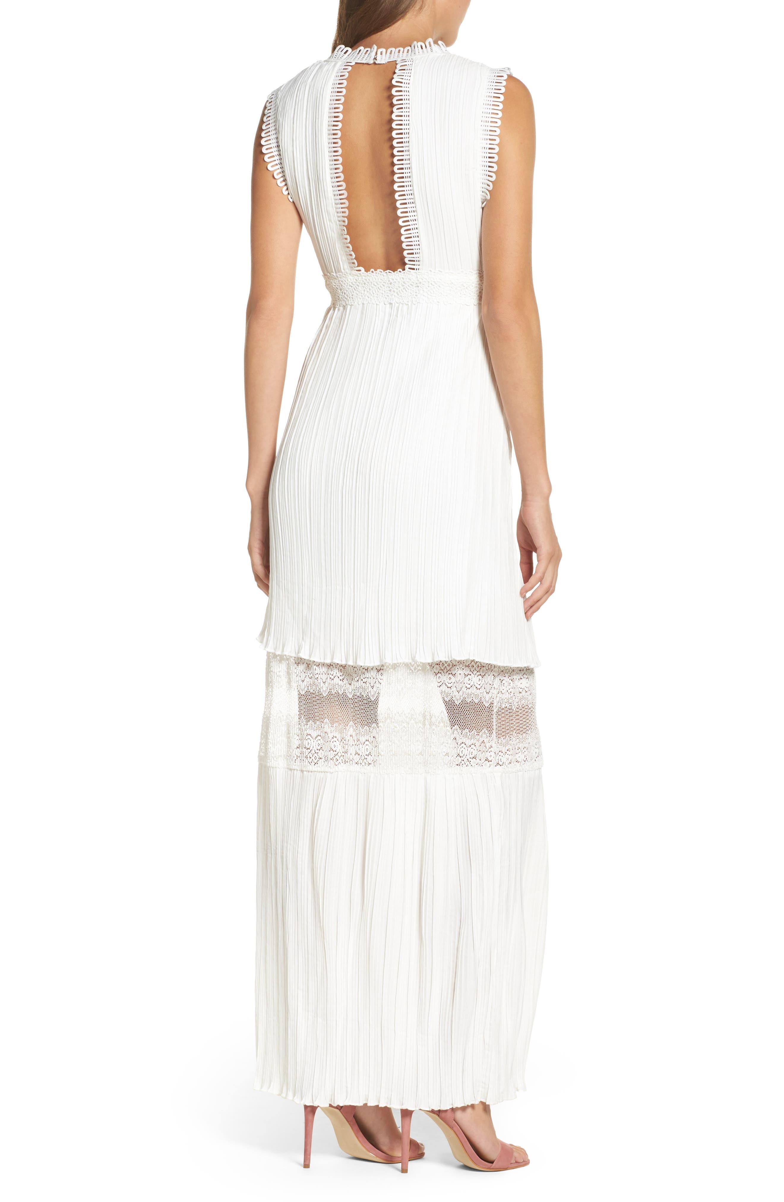 Jasmine Lace Inset Pleated Dress,                             Alternate thumbnail 2, color,                             Ivory