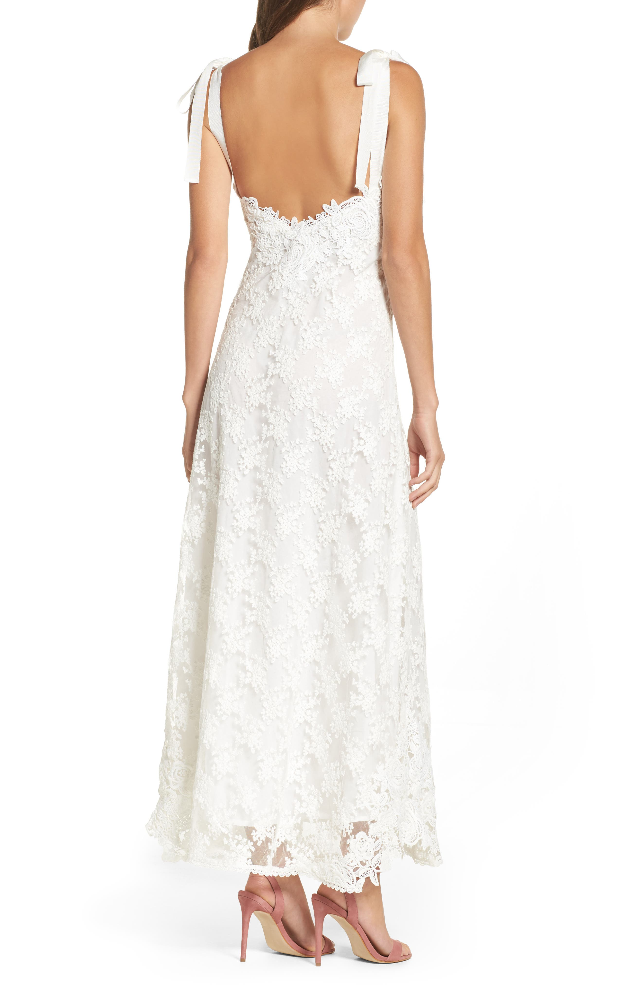 Alternate Image 2  - Foxiedox August Shoulder Tie Lace Maxi Dress