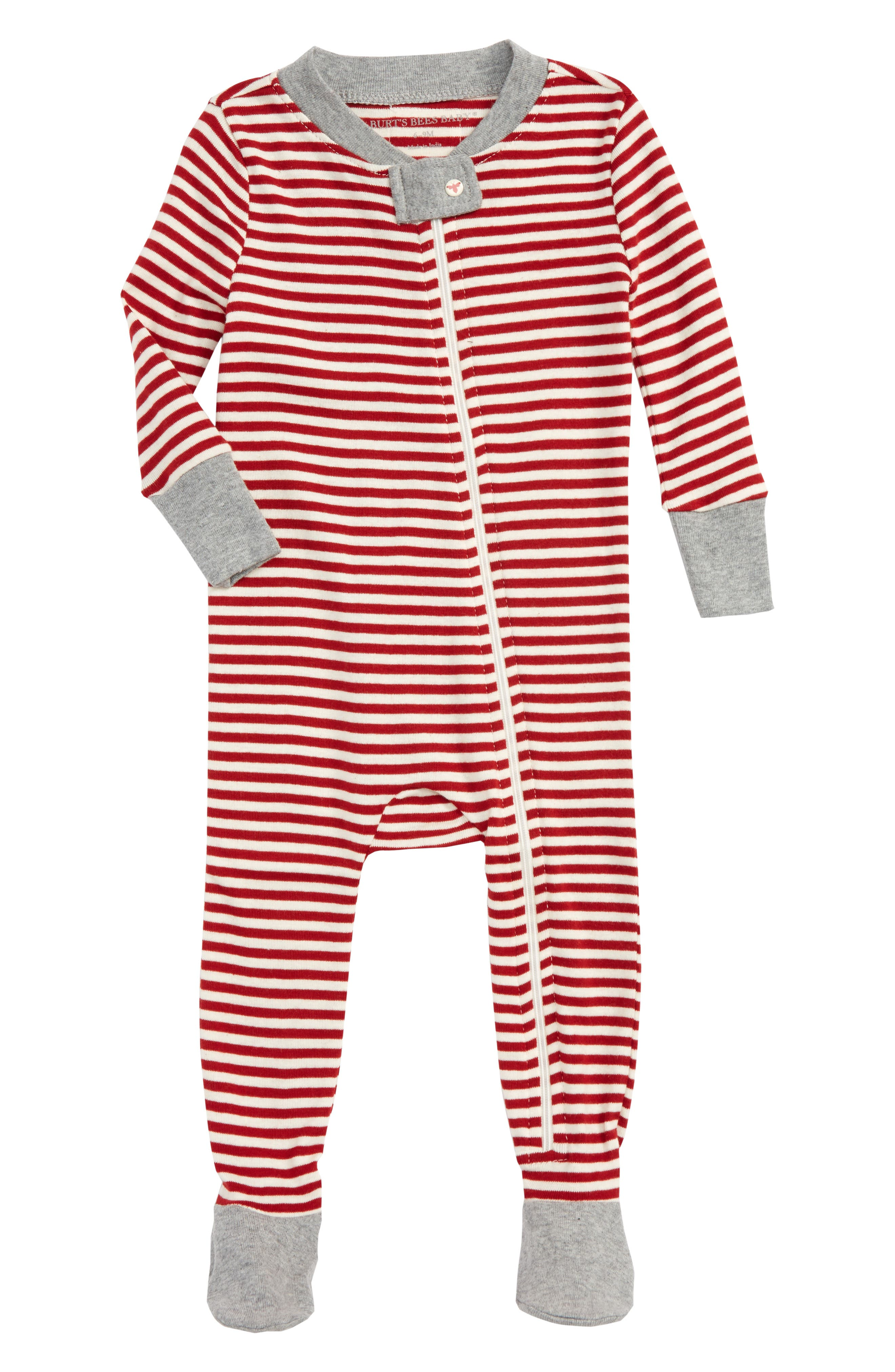 Fitted One-Piece Footie Pajamas,                         Main,                         color, Cranberry