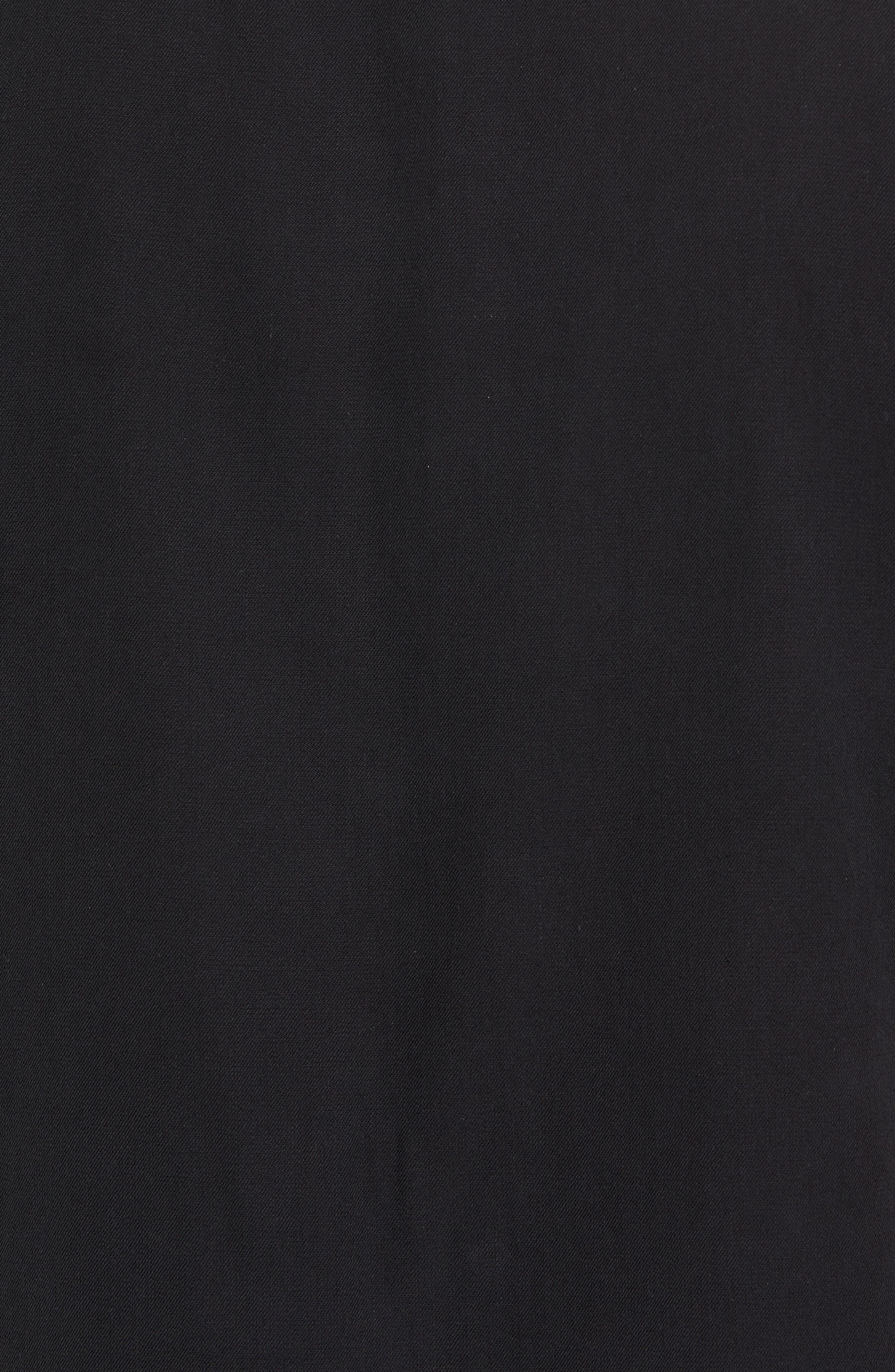 Summit Regular Fit Embroidered Silk Blend Sport Shirt,                             Alternate thumbnail 5, color,                             Black