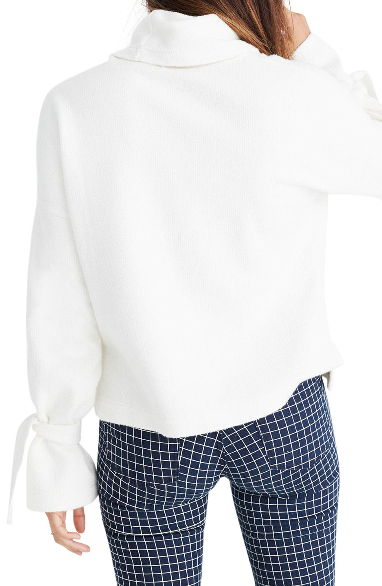 Mock Neck Tie Cuff Top,                             Alternate thumbnail 3, color,                             Bright Ivory
