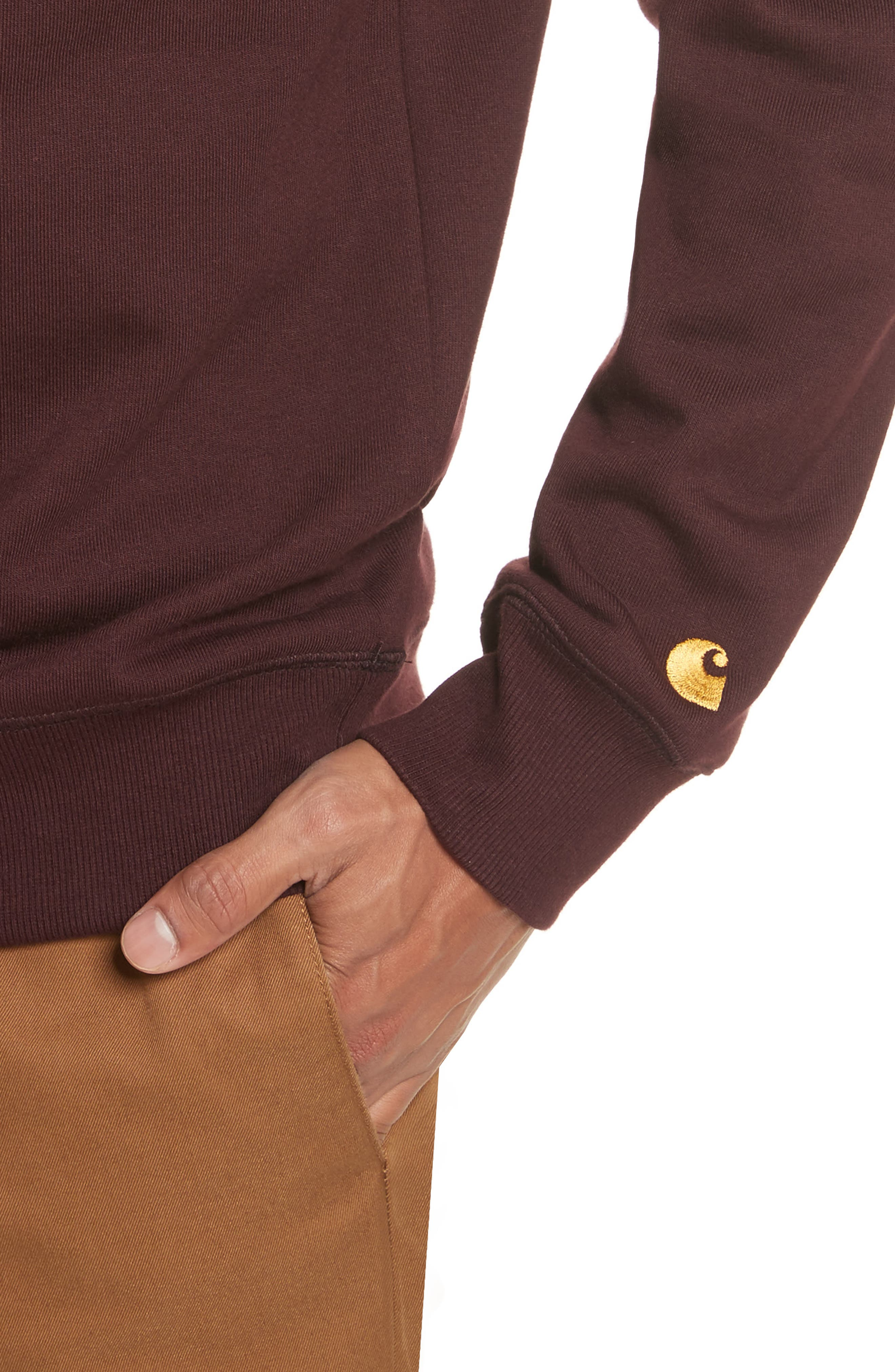 Crewneck Sweatshirt,                             Alternate thumbnail 4, color,                             Damson/ Gold