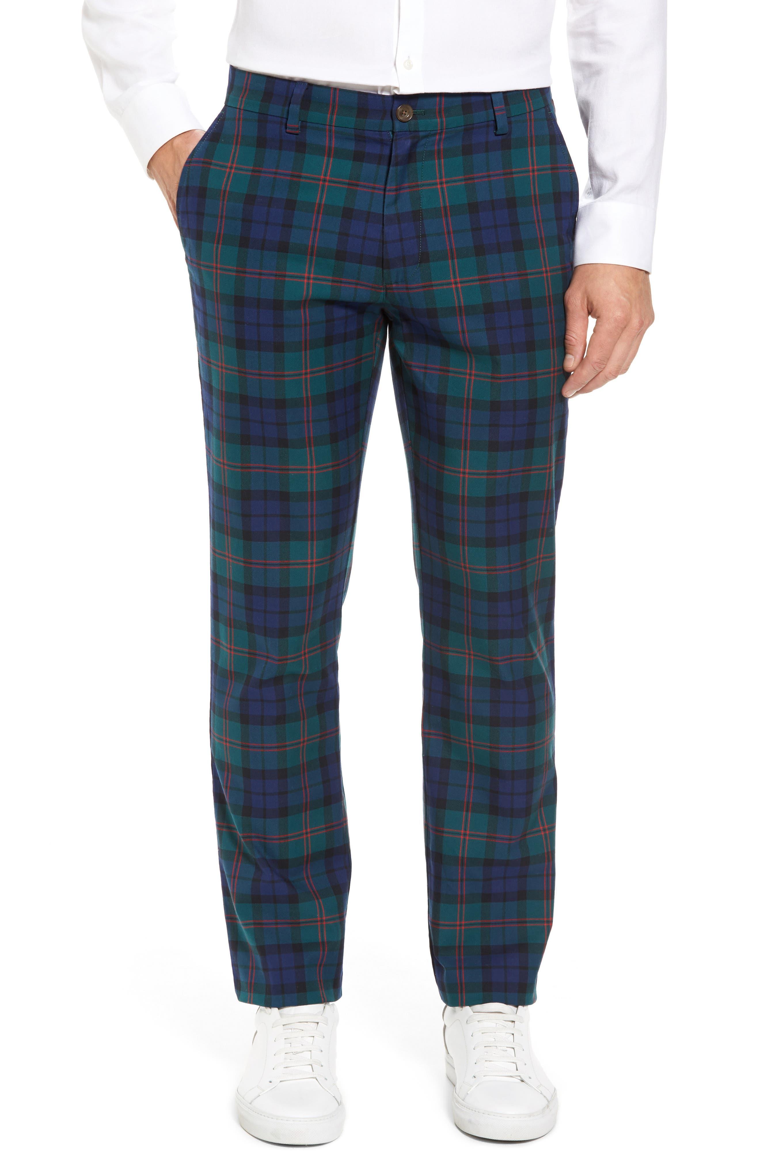 Breaker Holiday Tartan Pants,                         Main,                         color, Charleston Green