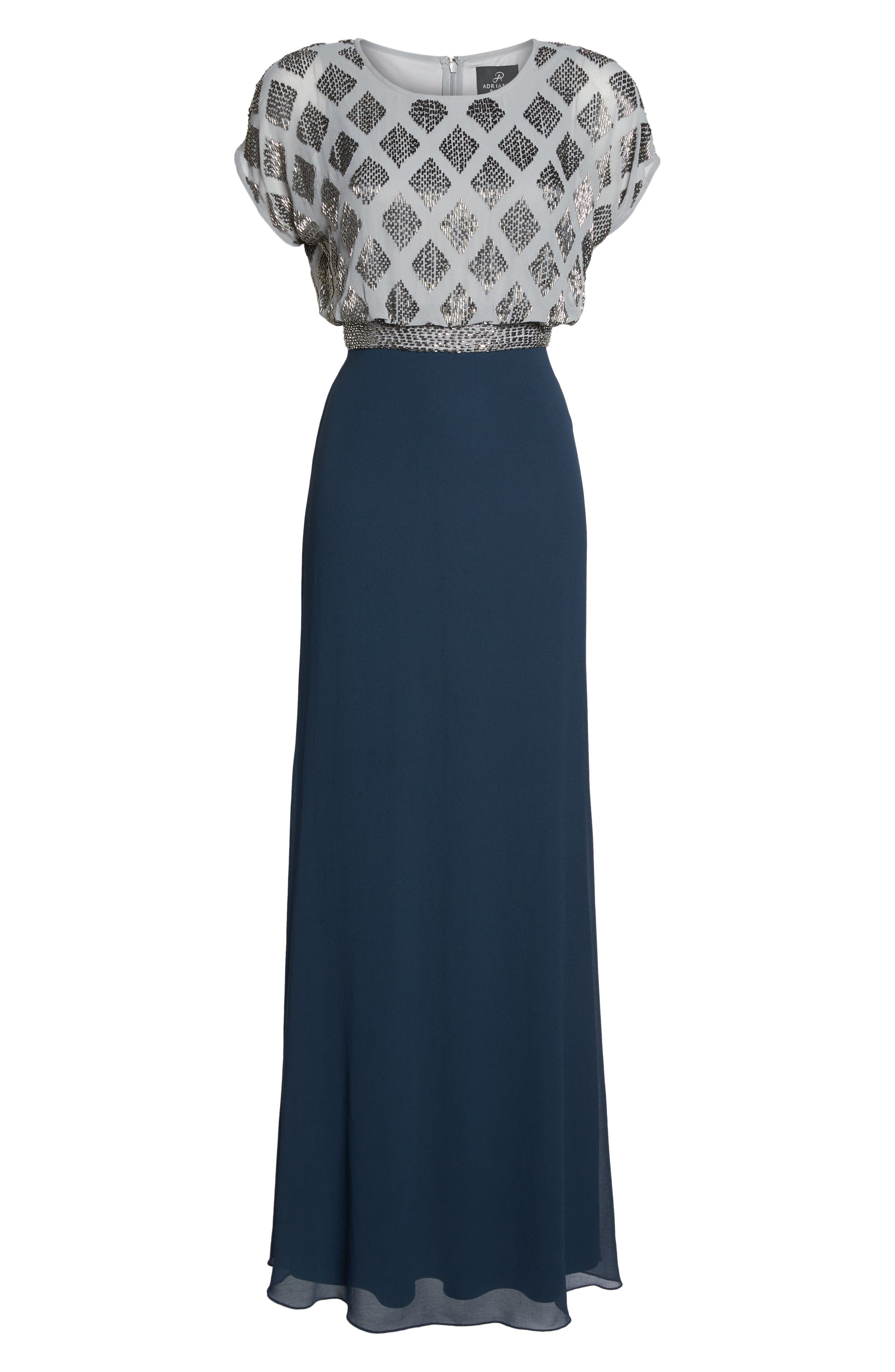 Beaded Colorblock Blouson Gown,                             Alternate thumbnail 6, color,                             Silver/ Navy