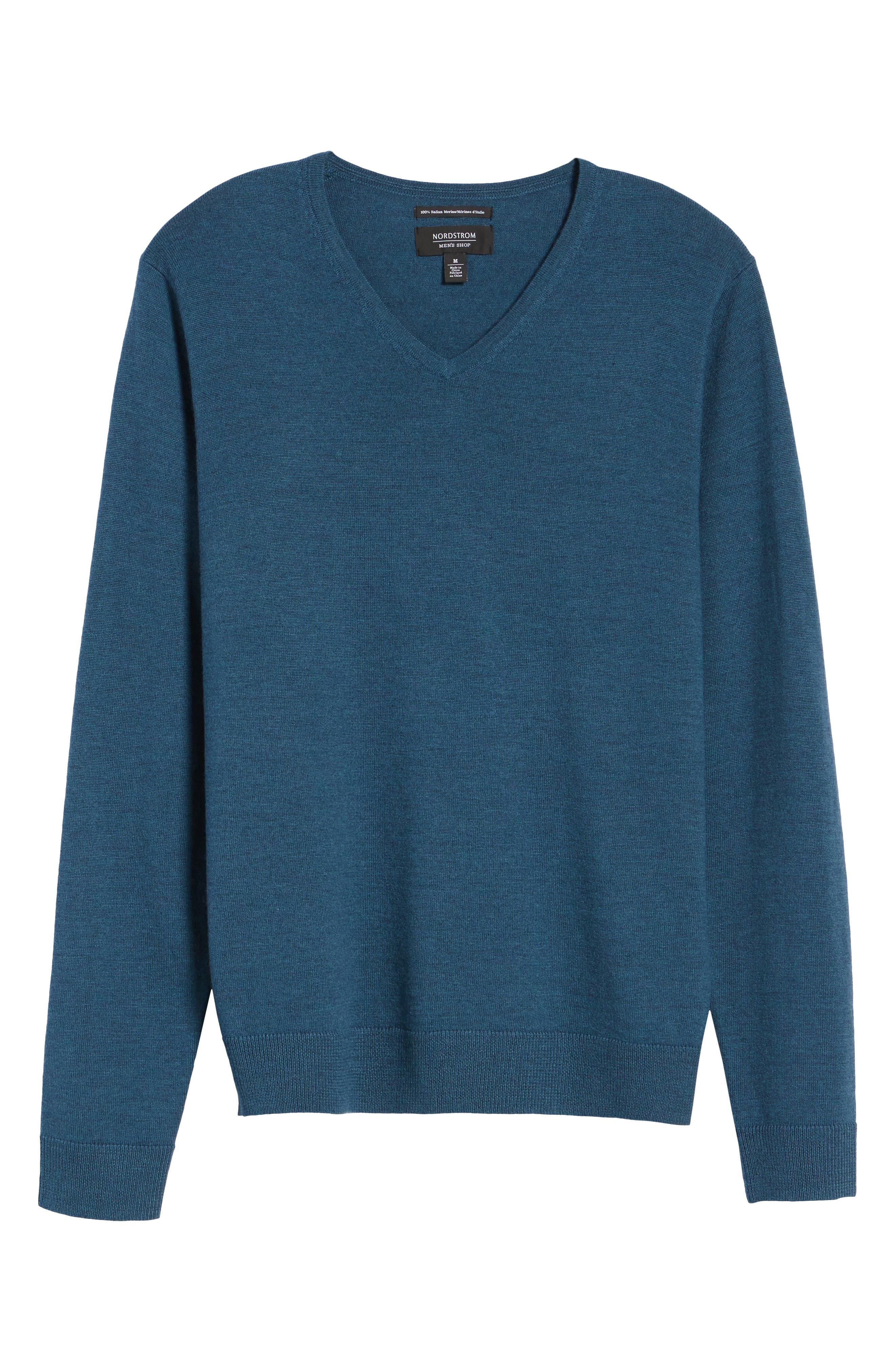 Alternate Image 6  - Nordstrom Men's Shop V-Neck Merino Wool Sweater (Regular & Tall)