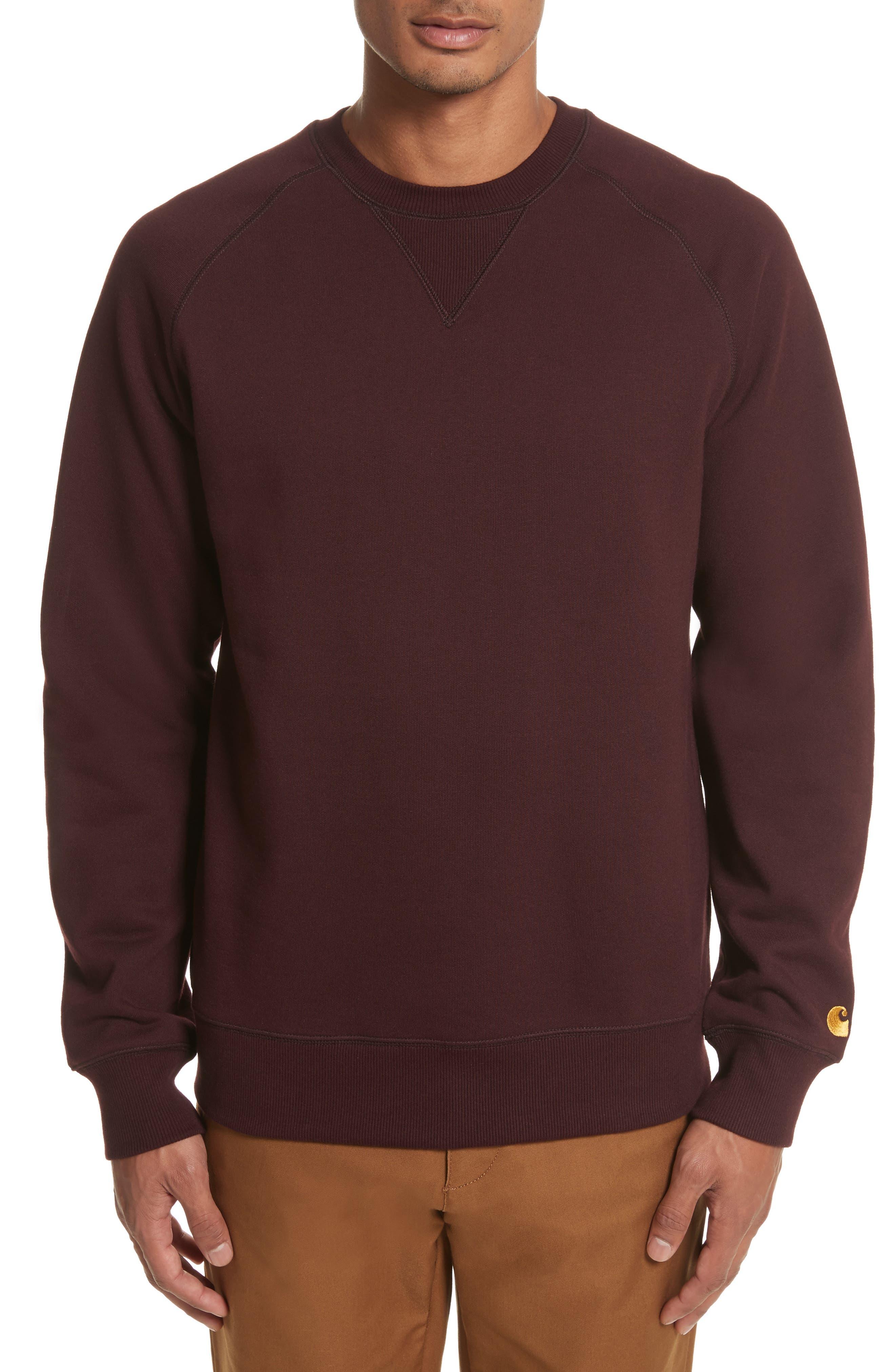 Crewneck Sweatshirt,                             Main thumbnail 1, color,                             Damson/ Gold