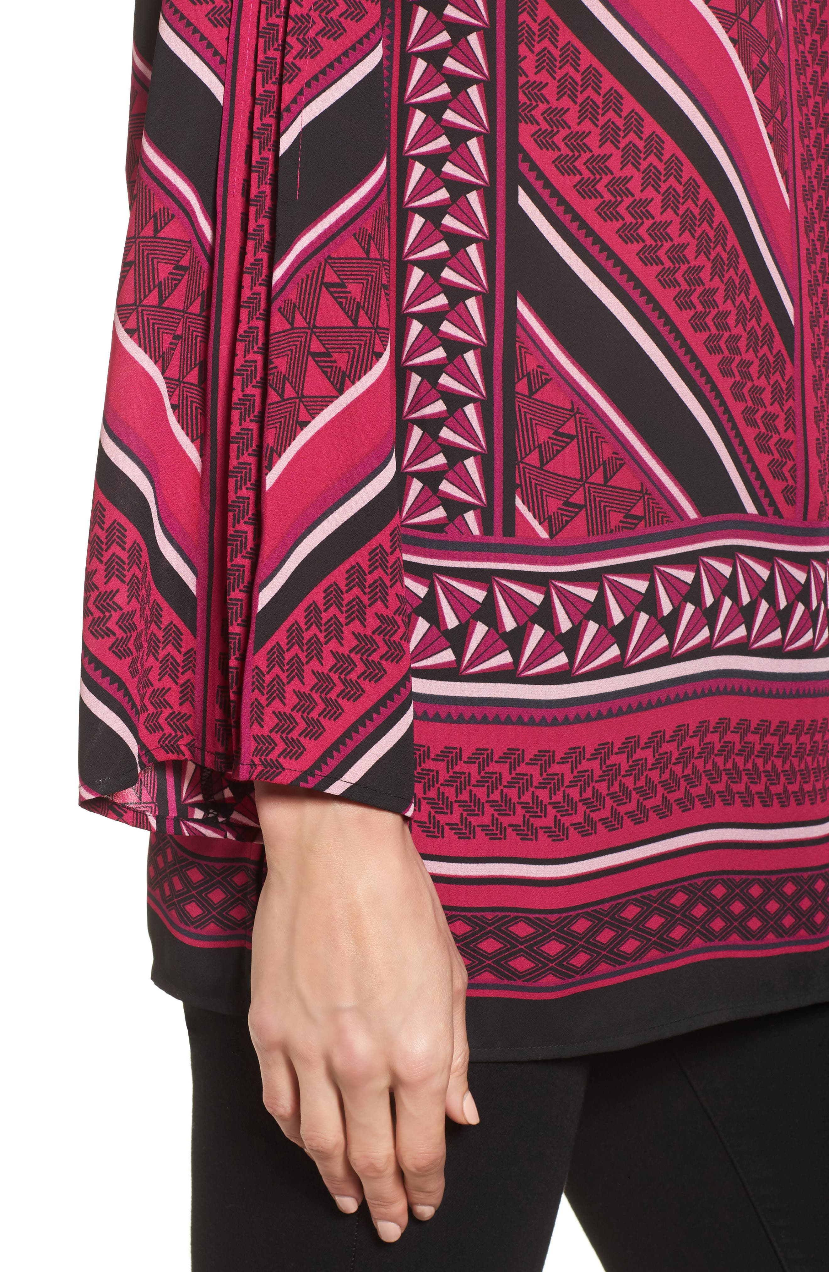 Pleated Sleeve Blouse,                             Alternate thumbnail 4, color,                             Fuchsia