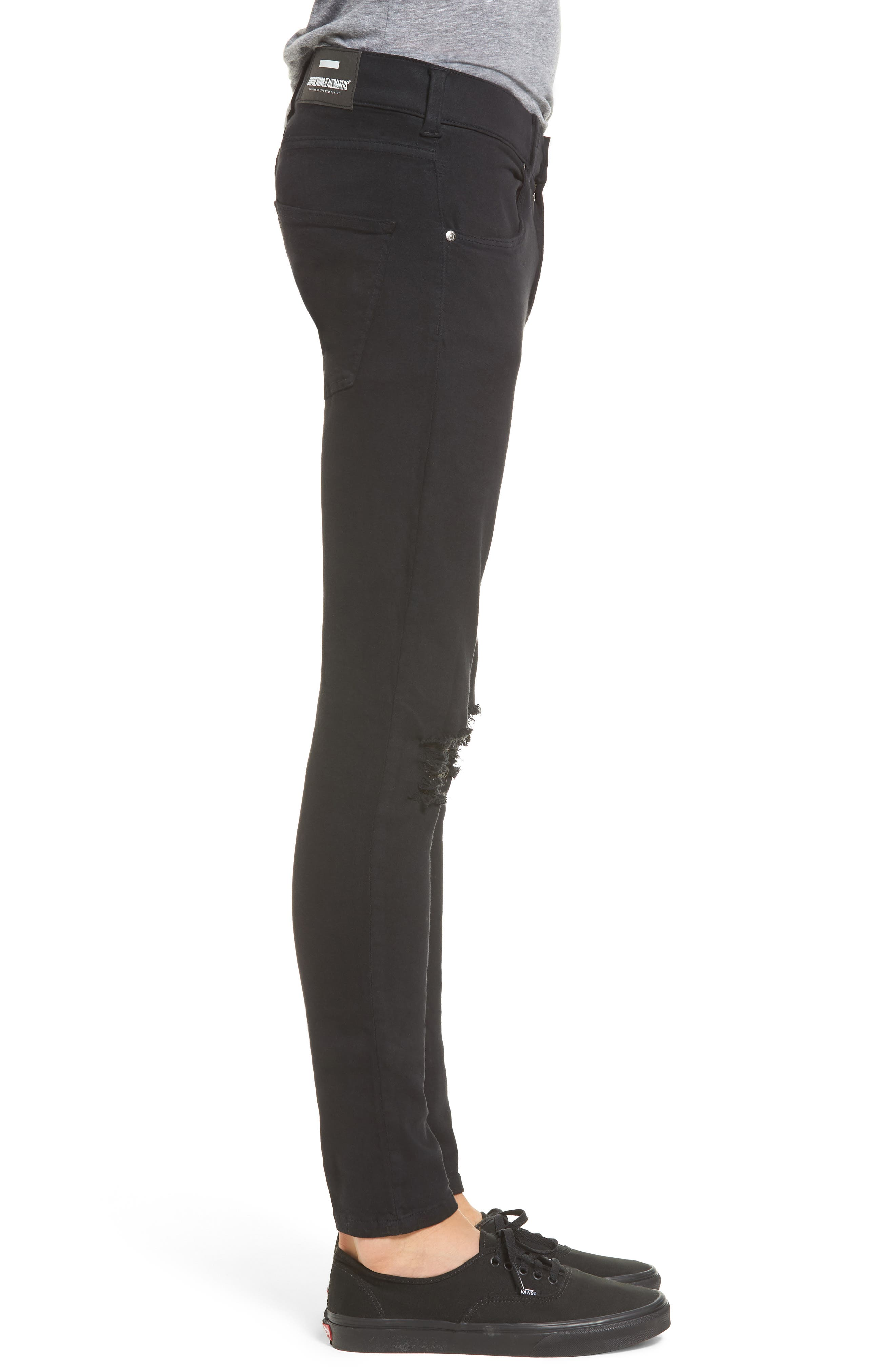 Leroy Slim Fit Jeans,                             Alternate thumbnail 3, color,                             Black Ripped Knees