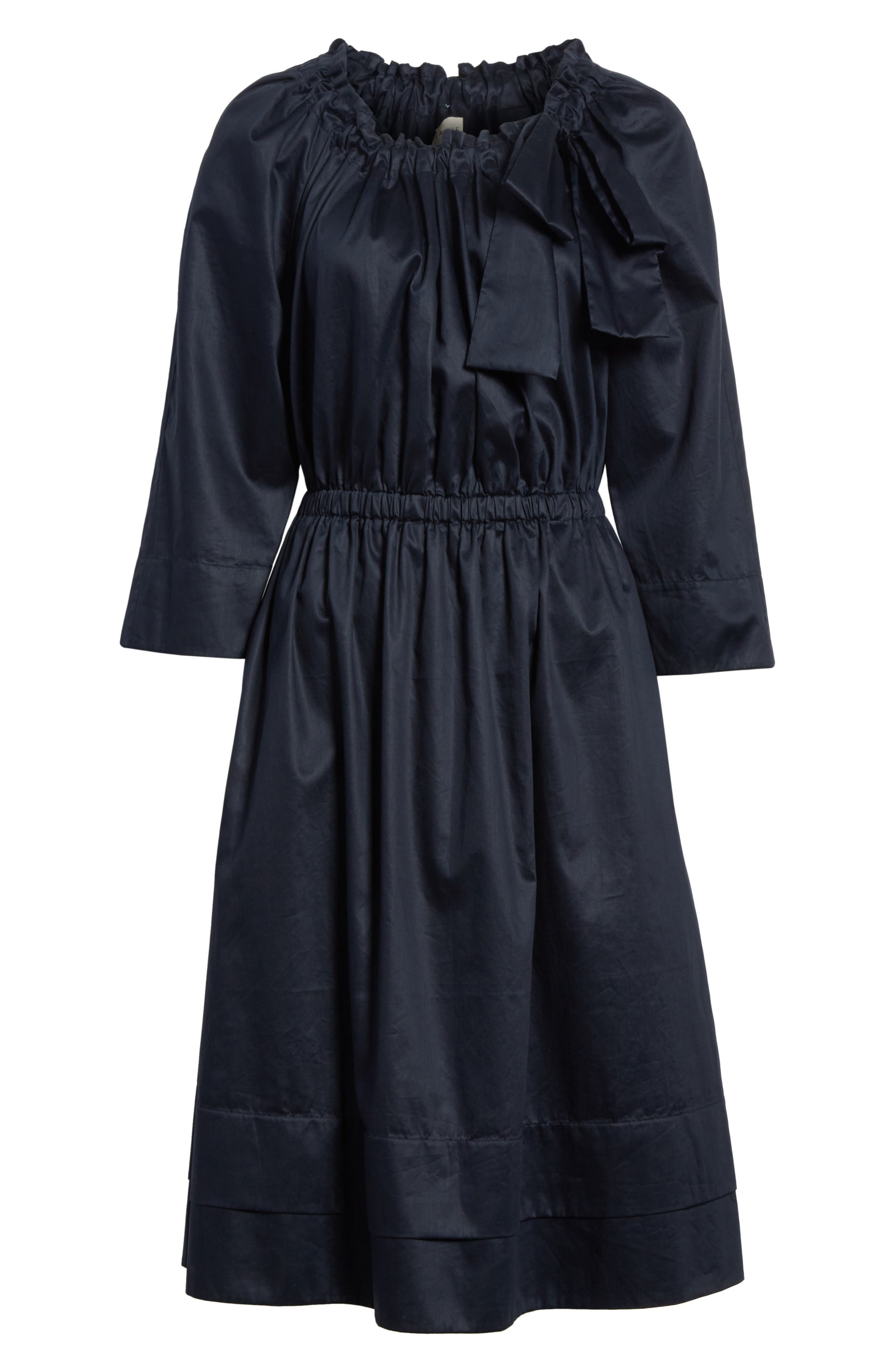 Bow Neck Washed Sateen Dress,                             Alternate thumbnail 6, color,                             Midnight Navy
