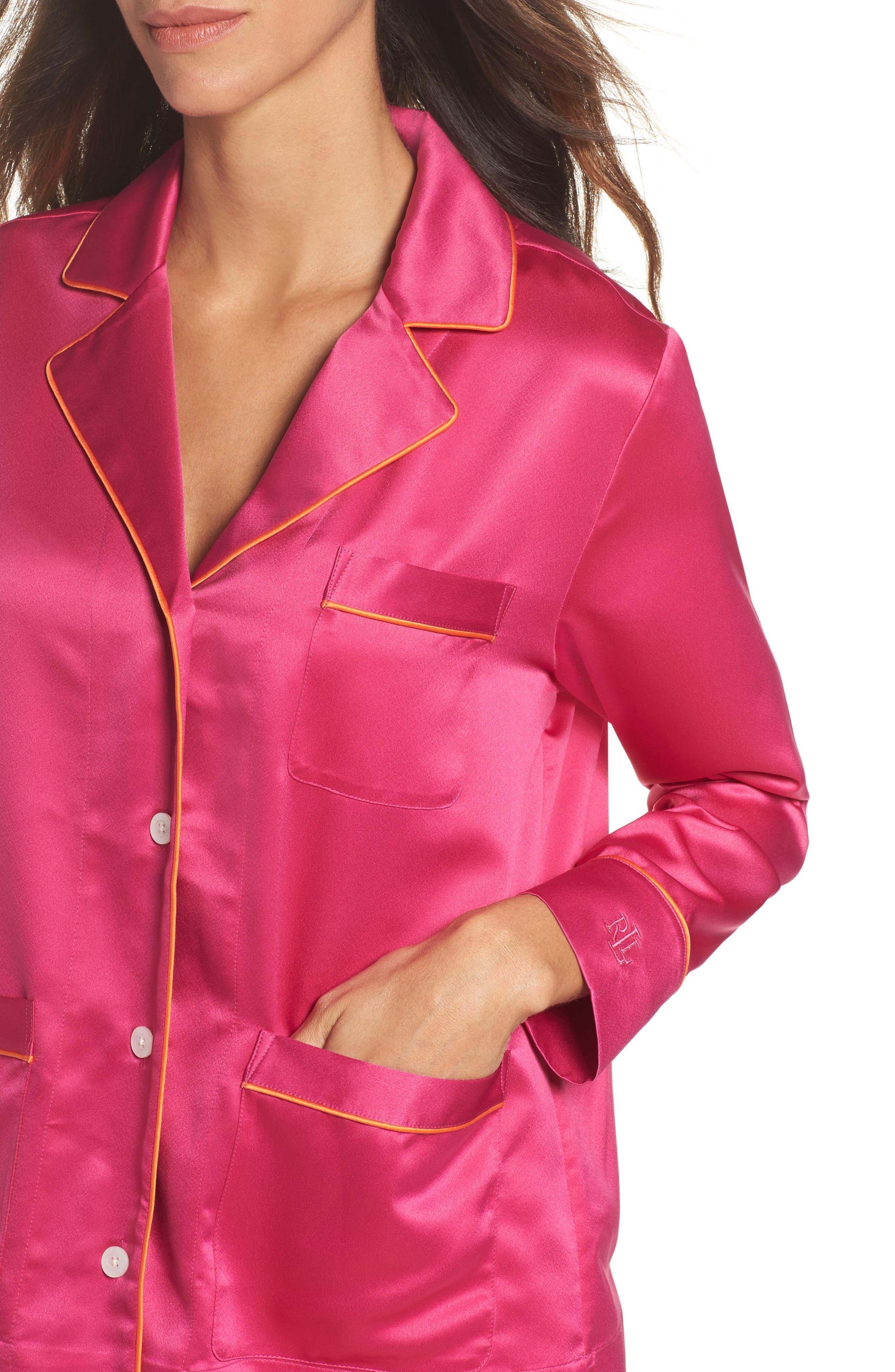 Satin Pajamas,                             Alternate thumbnail 4, color,                             Pink