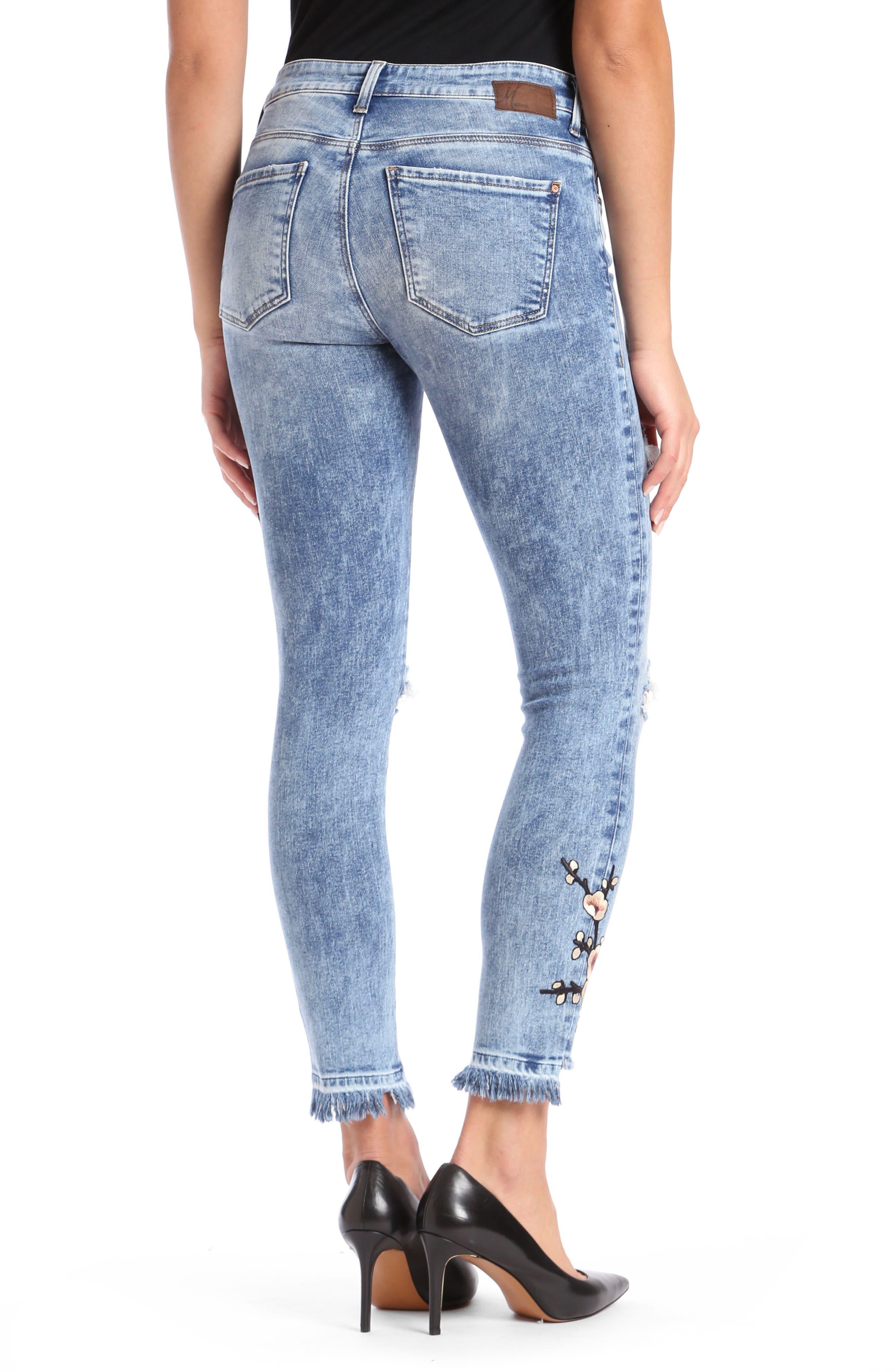 Alternate Image 2  - Mavi Tess Super Skinny High-Waist Jeans (Japanese Embroidery)