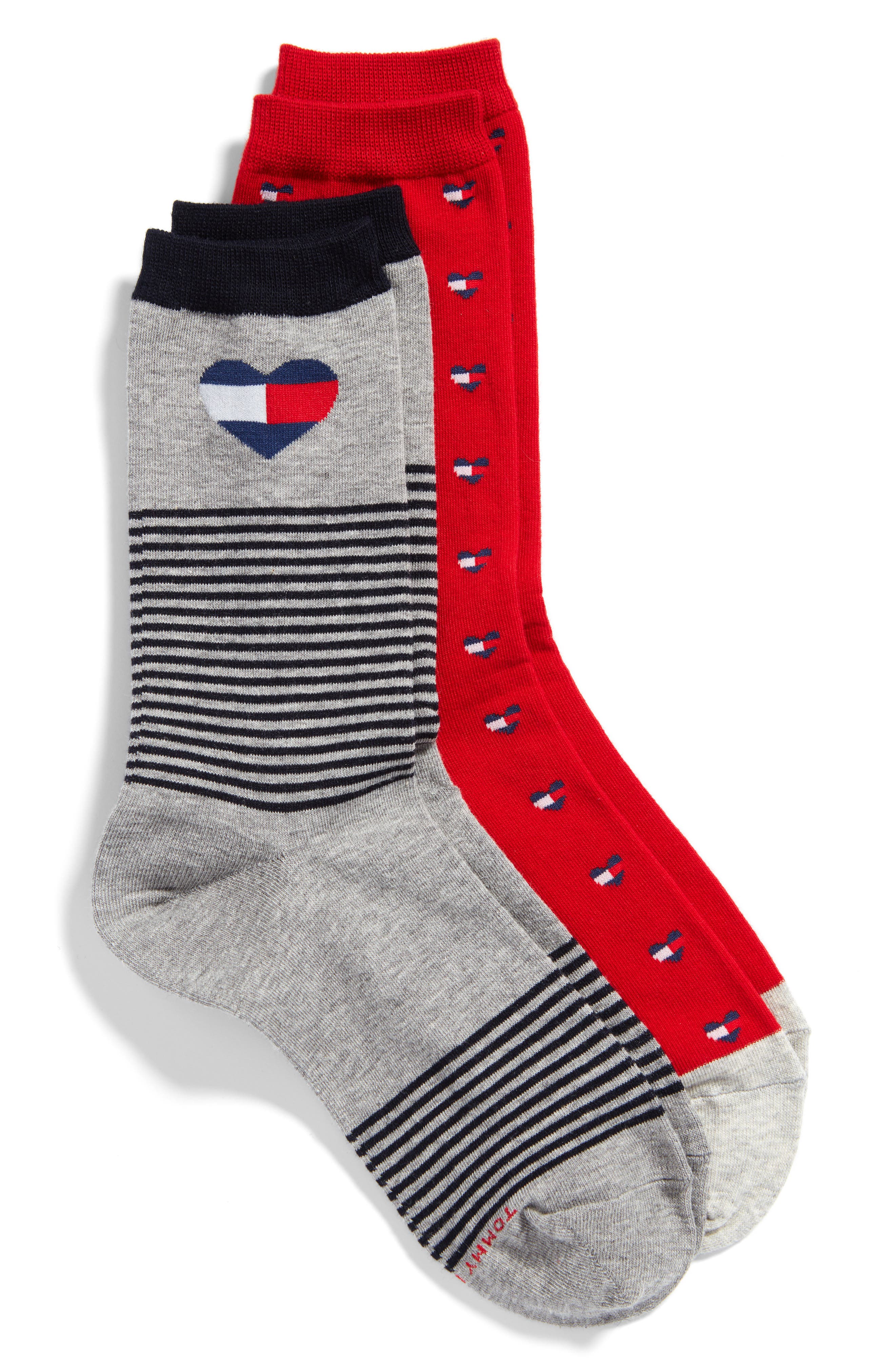 2-Pack Crew Socks,                         Main,                         color, Red/ Grey Heather