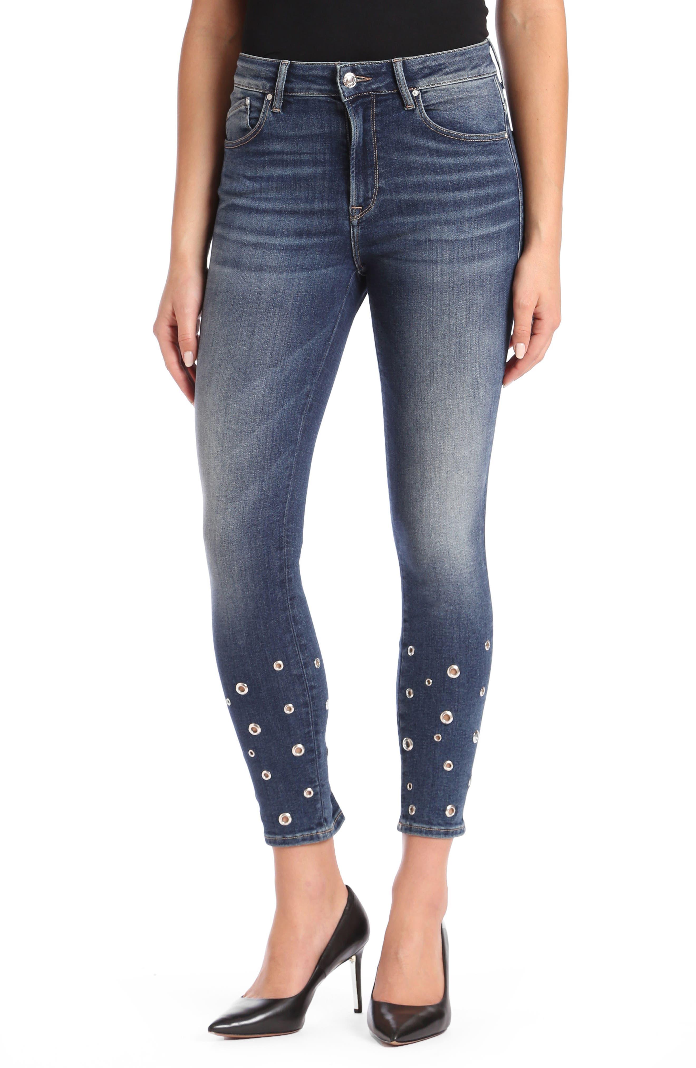 Mavi Tess Super Skinny Jeans,                             Main thumbnail 1, color,                             Shaded Eyelet