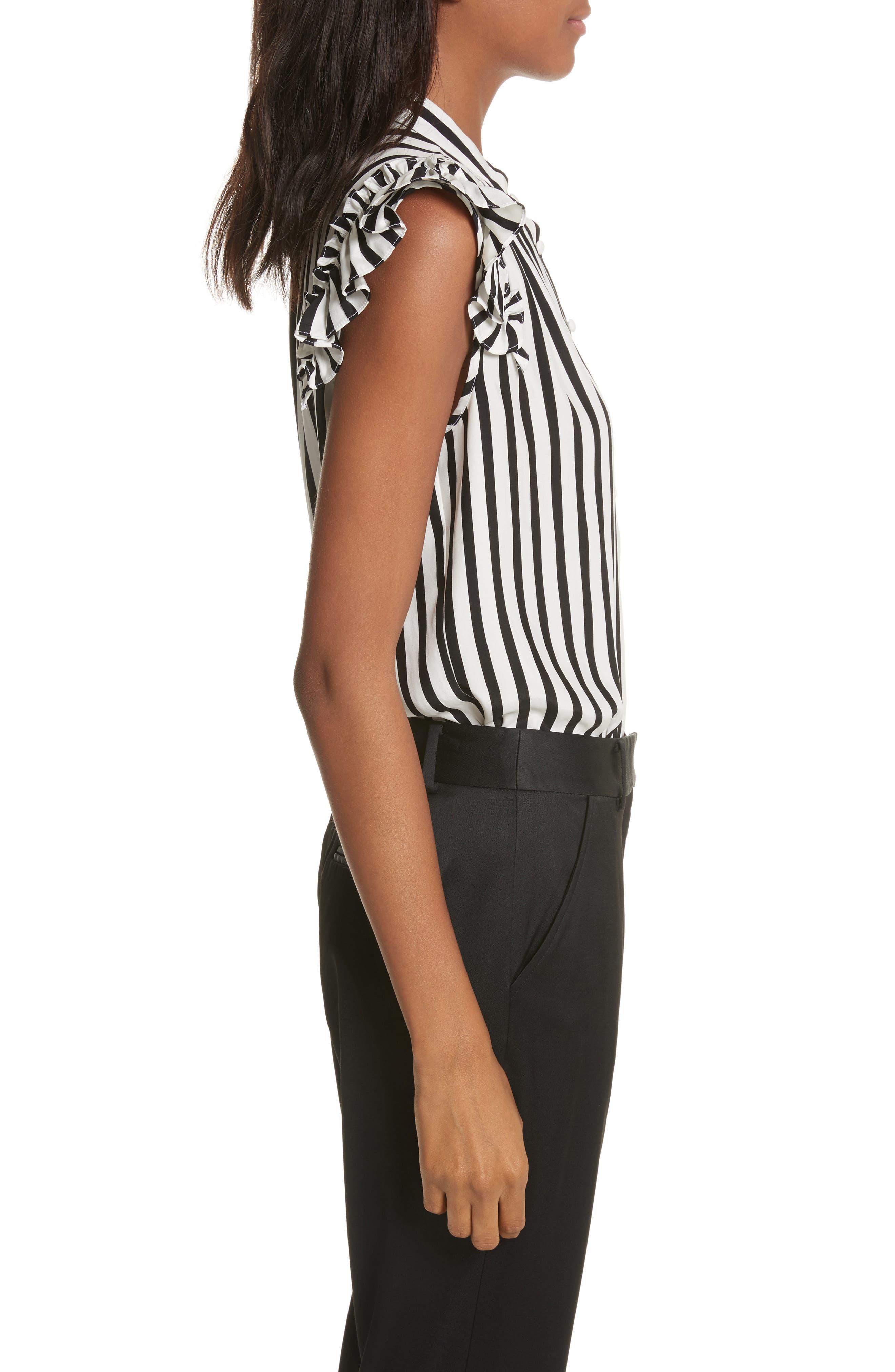 Alternate Image 4  - FRAME Sleeveless Silk Ruffle Blouse