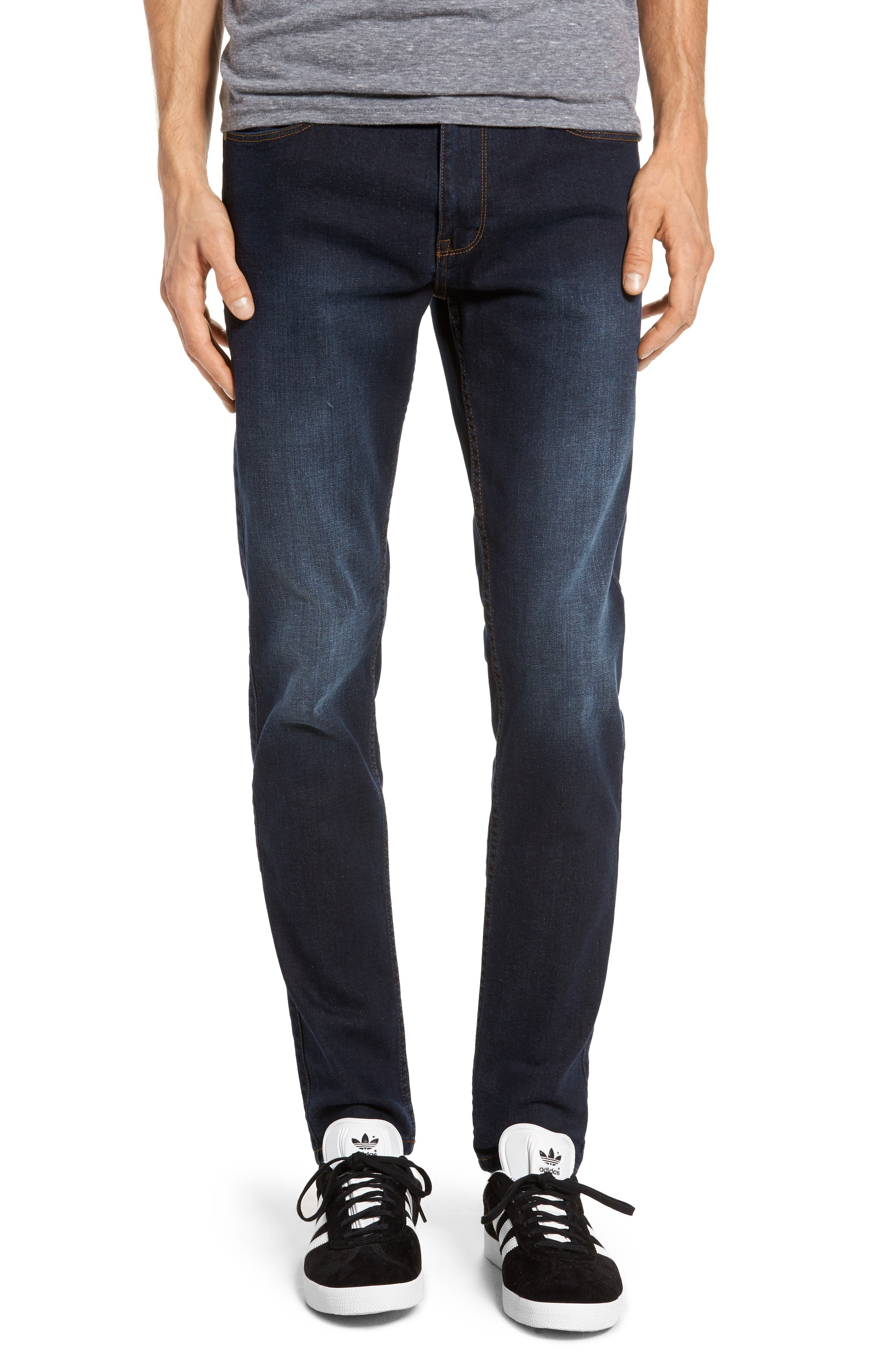 Clark Sim Straight Fit Jeans,                             Main thumbnail 1, color,                             Worn Dark Blue