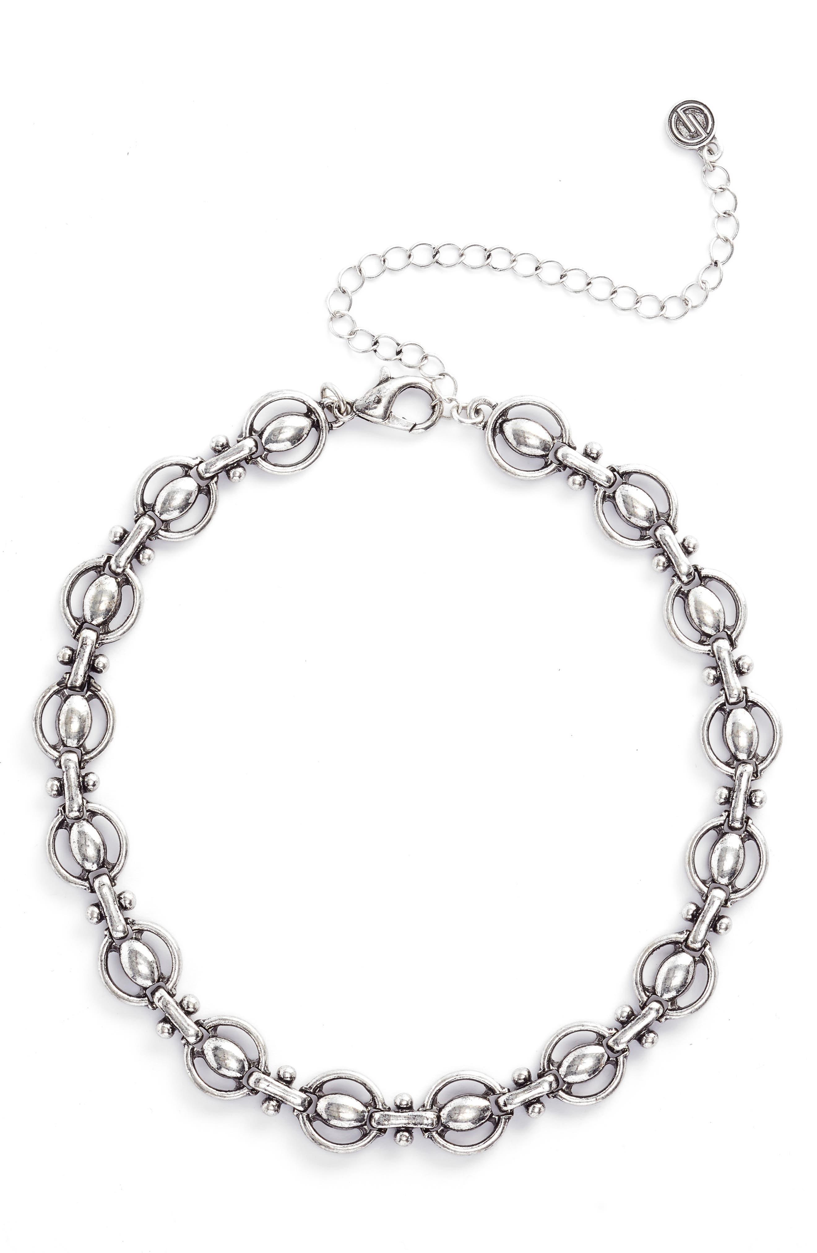 Chain Choker,                             Main thumbnail 1, color,                             Antiqued Silver