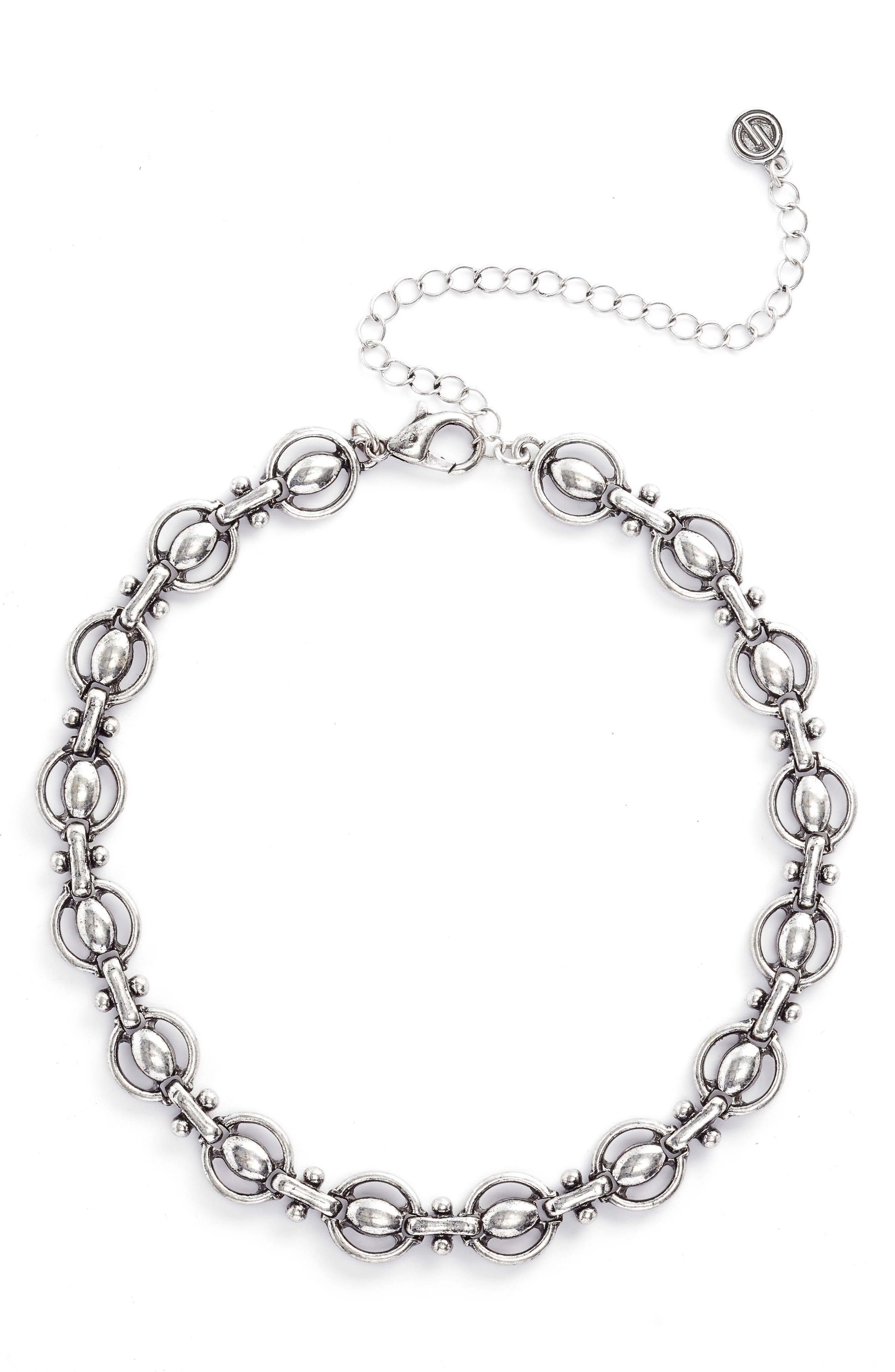 Chain Choker,                         Main,                         color, Antiqued Silver