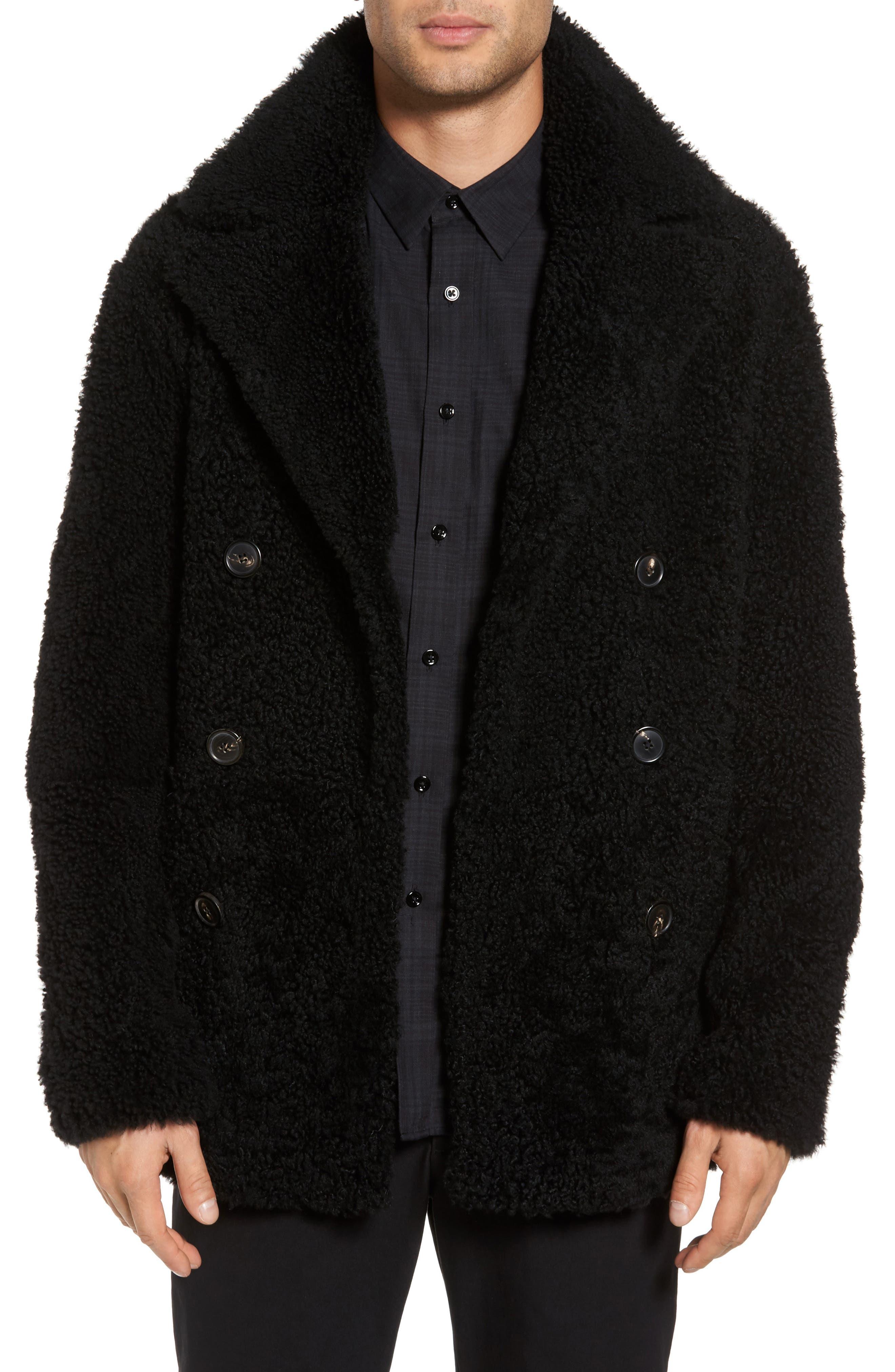 Reversible Genuine Shearling Peacoat,                         Main,                         color, Black
