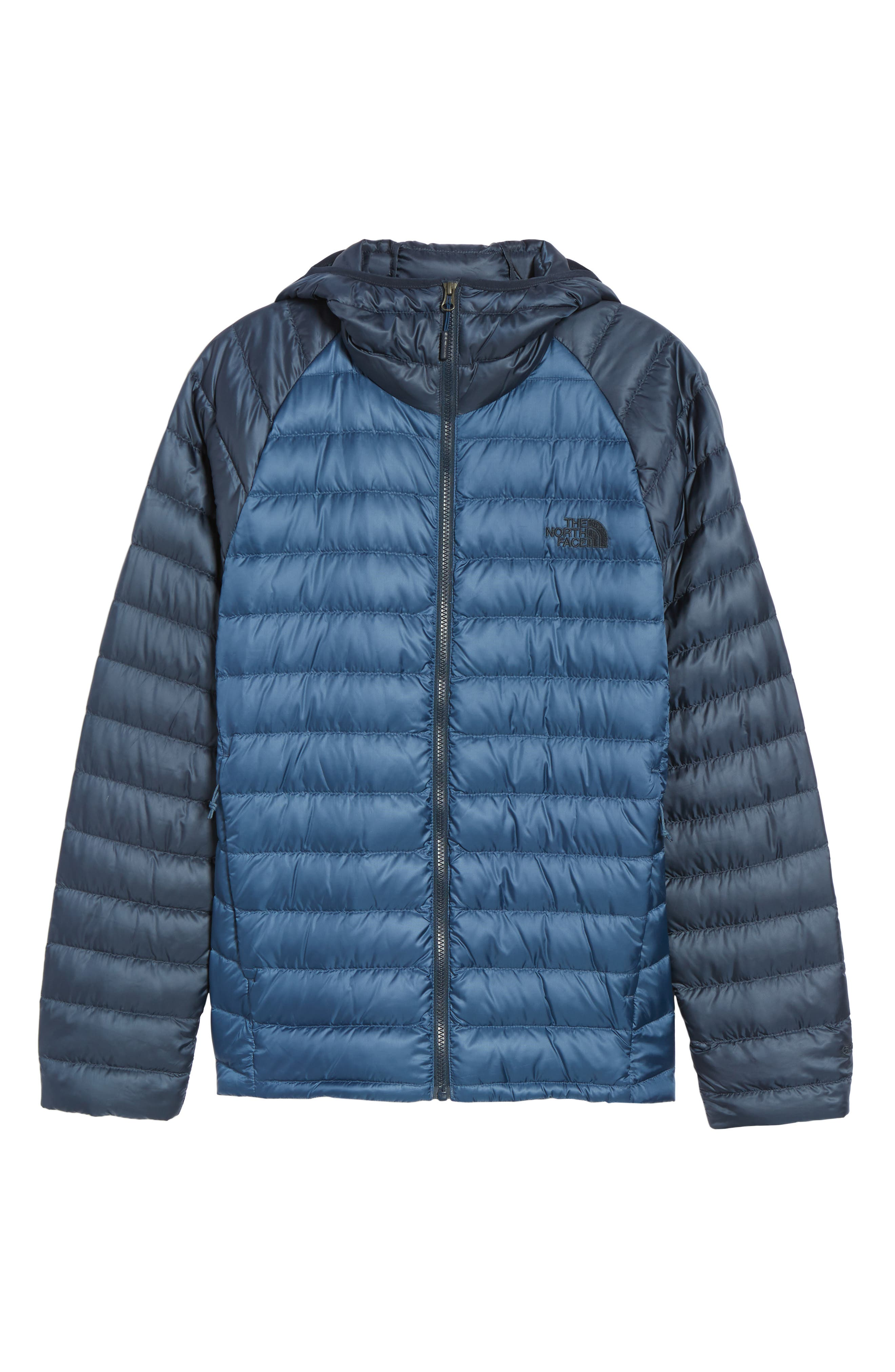 Trevail Water Repellent Packable 800-Fill-Power Down Hooded Jacket,                             Alternate thumbnail 6, color,                             Shady Blue/ Urban Navy