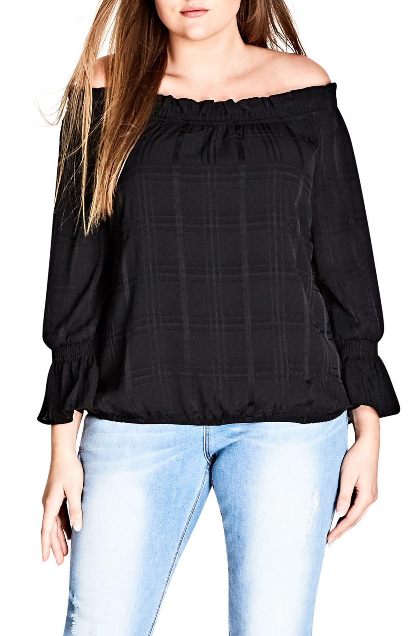 Off the Shoulder Ruffle Top,                         Main,                         color, Black