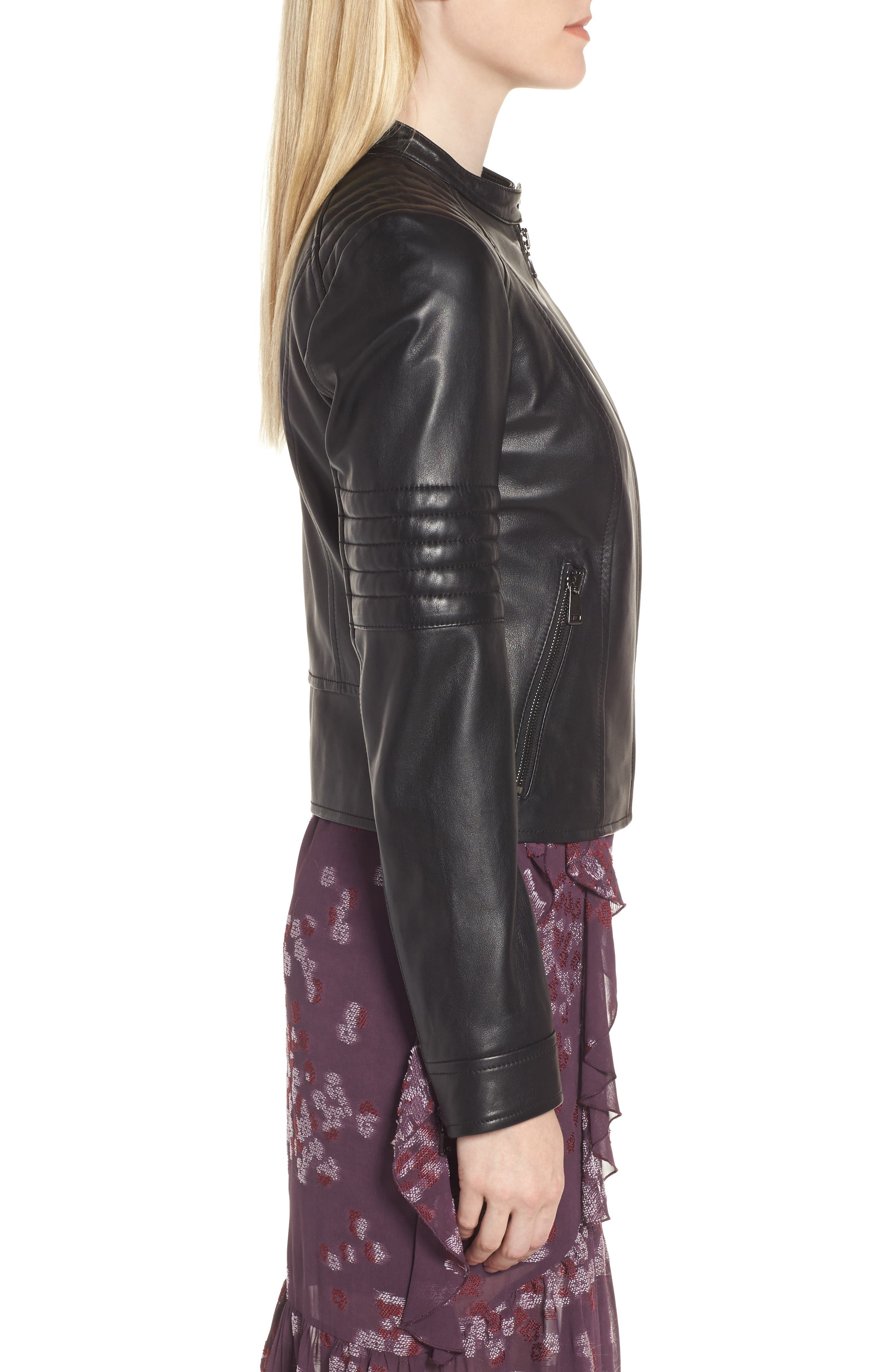 Quilted Sleeve Leather Biker Jacket,                             Alternate thumbnail 3, color,                             Black