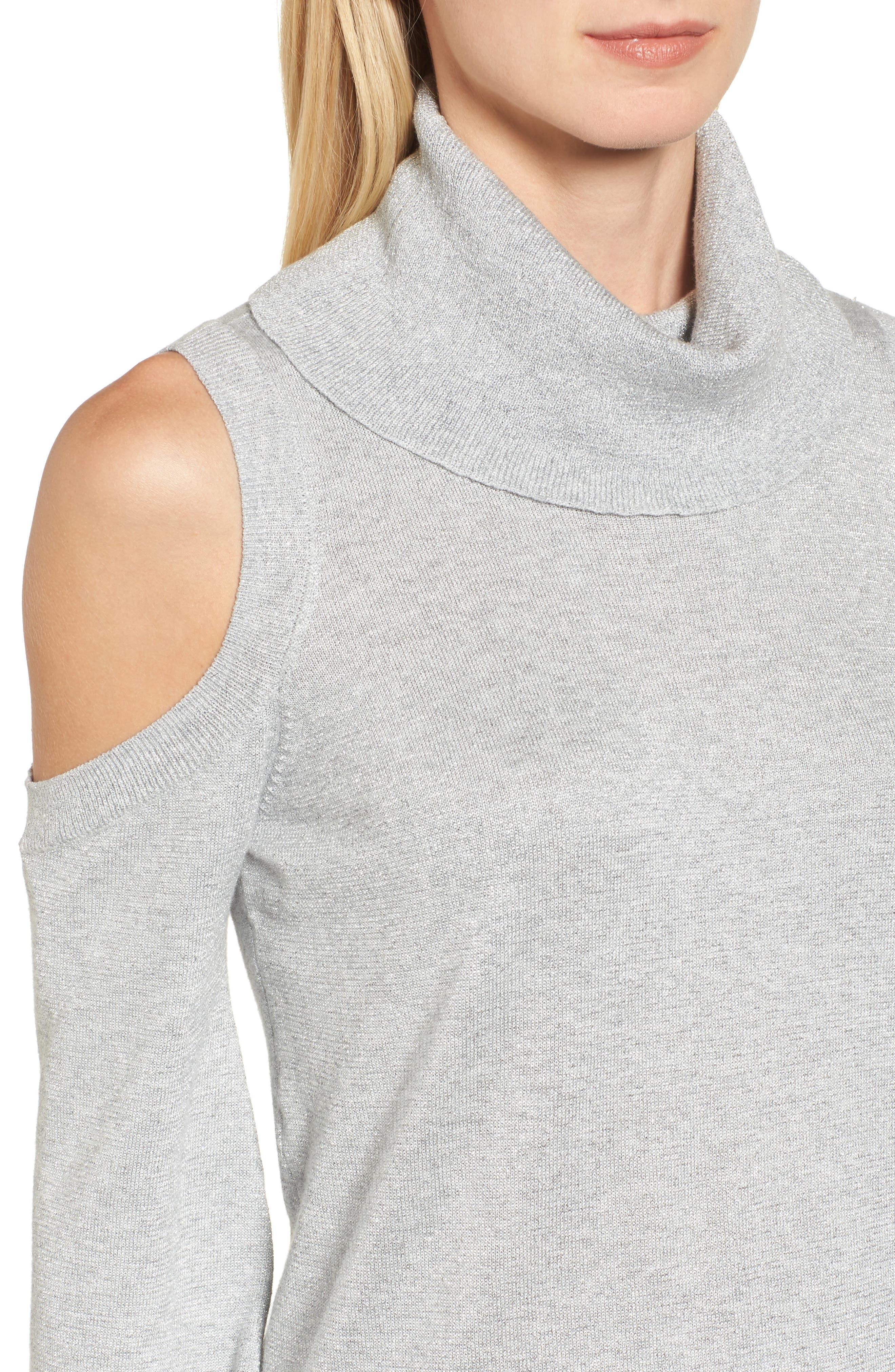 Alternate Image 4  - Chaus Metallic Cold Shoulder Cowl Neck Sweater