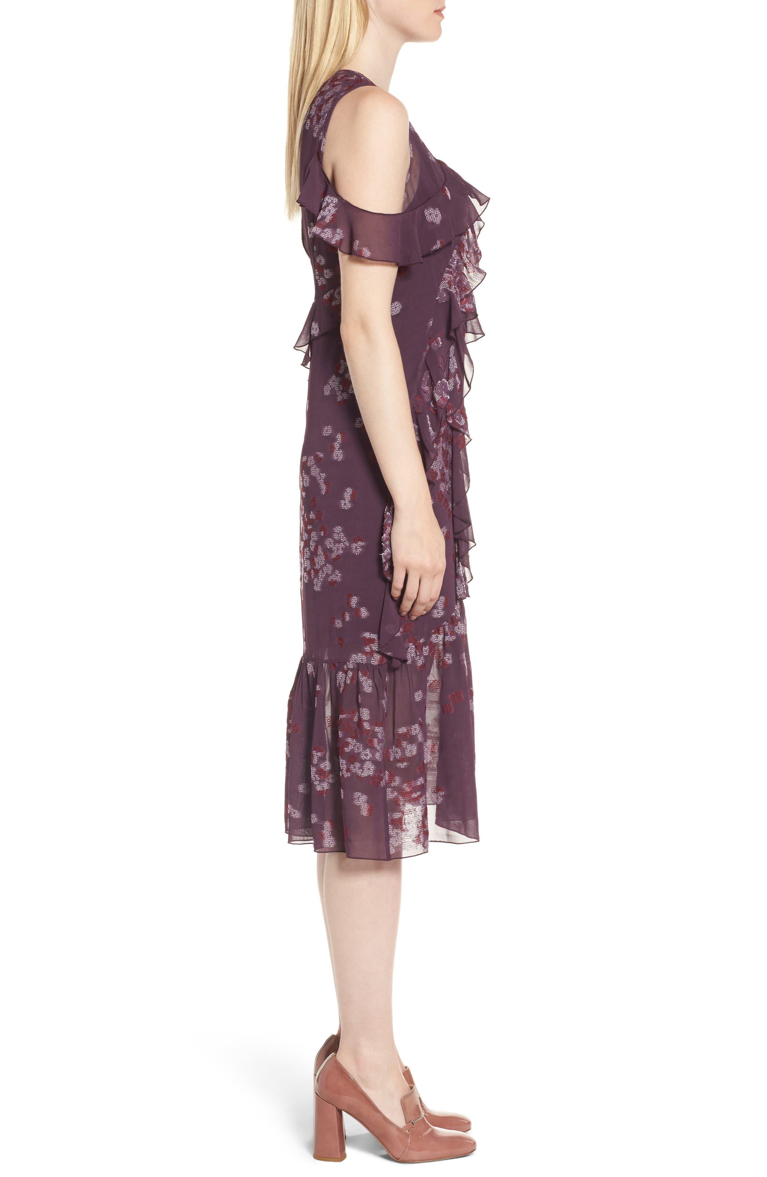 Jacquard Ruffle Dress,                             Alternate thumbnail 3, color,                             Purple Plum Scattered Floral