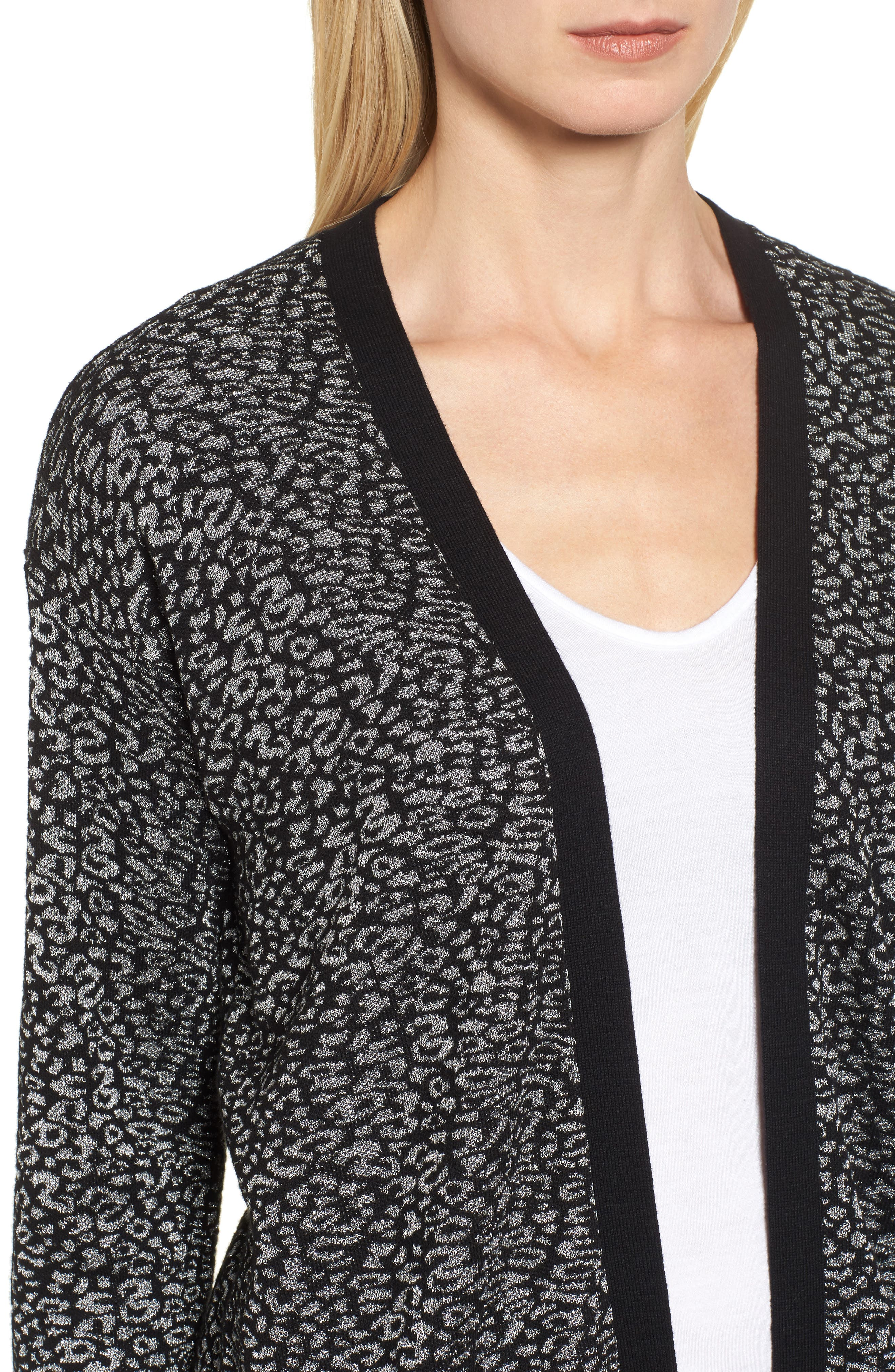 Alternate Image 4  - Chaus Metallic Animal Jacquard Long Cardigan