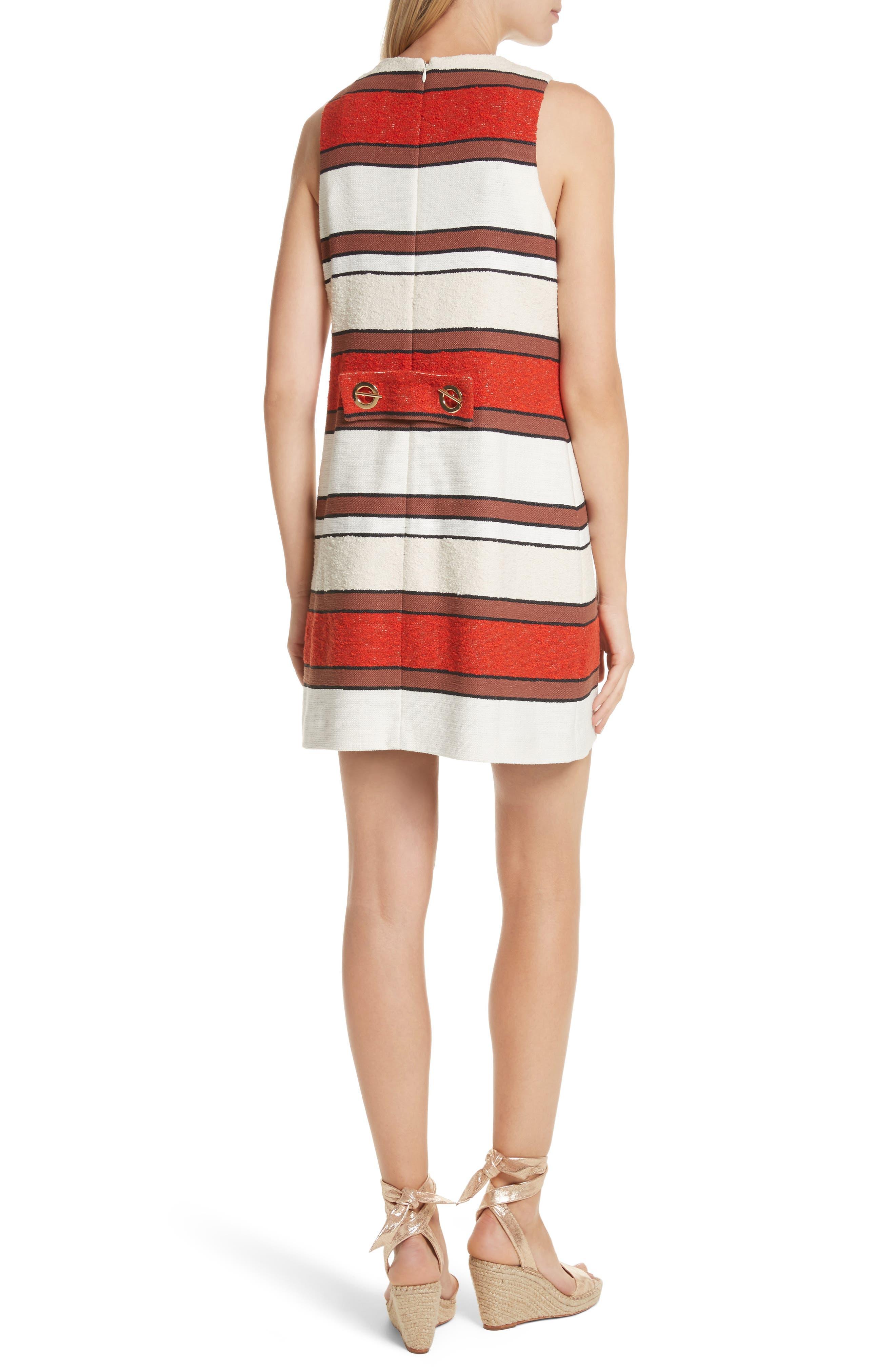 Grommet Detail Stripe Shift Dress,                             Alternate thumbnail 2, color,                             Poppy