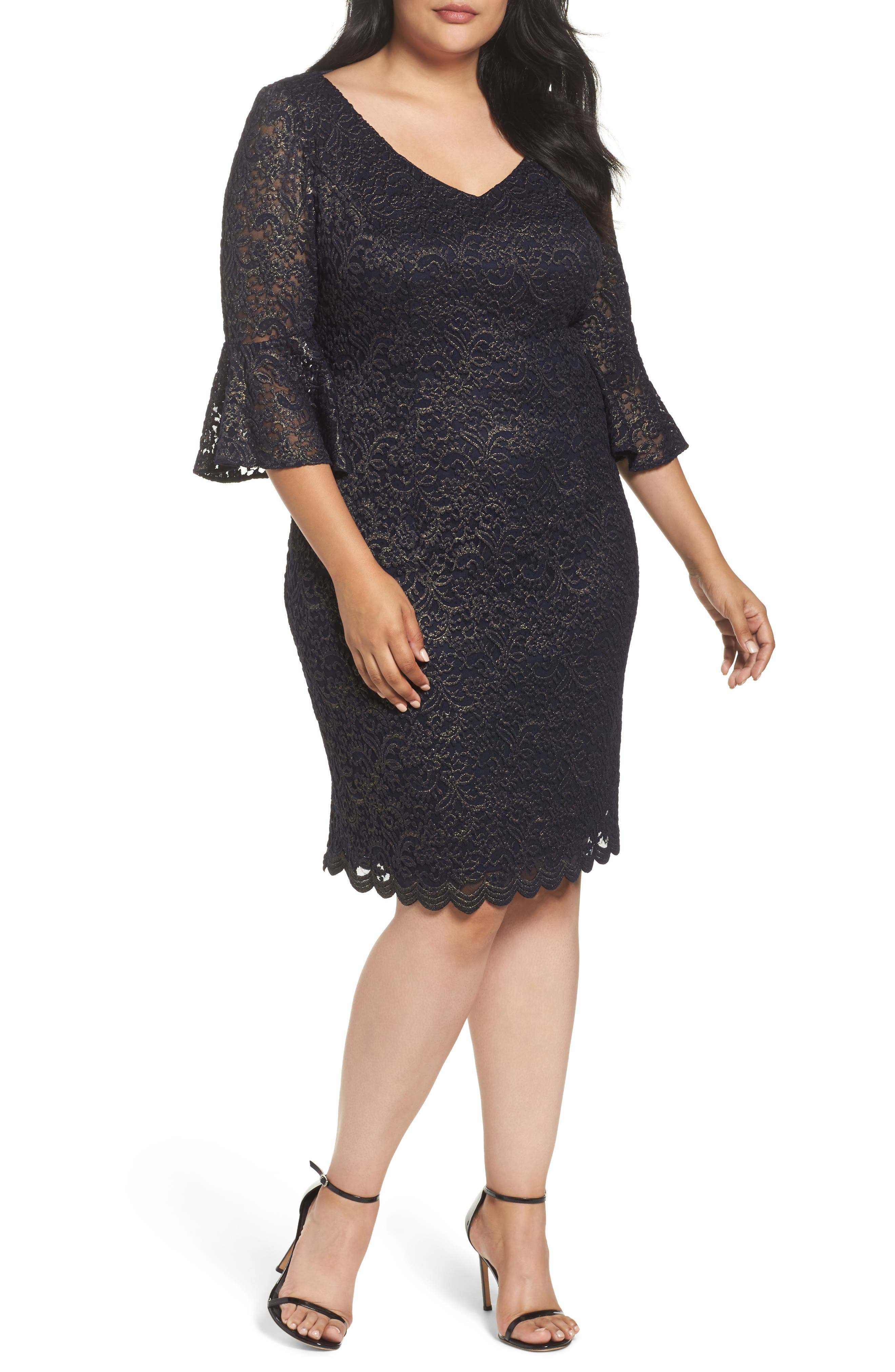Metallic Lace Sheath Dress,                         Main,                         color, Navy/ Gold