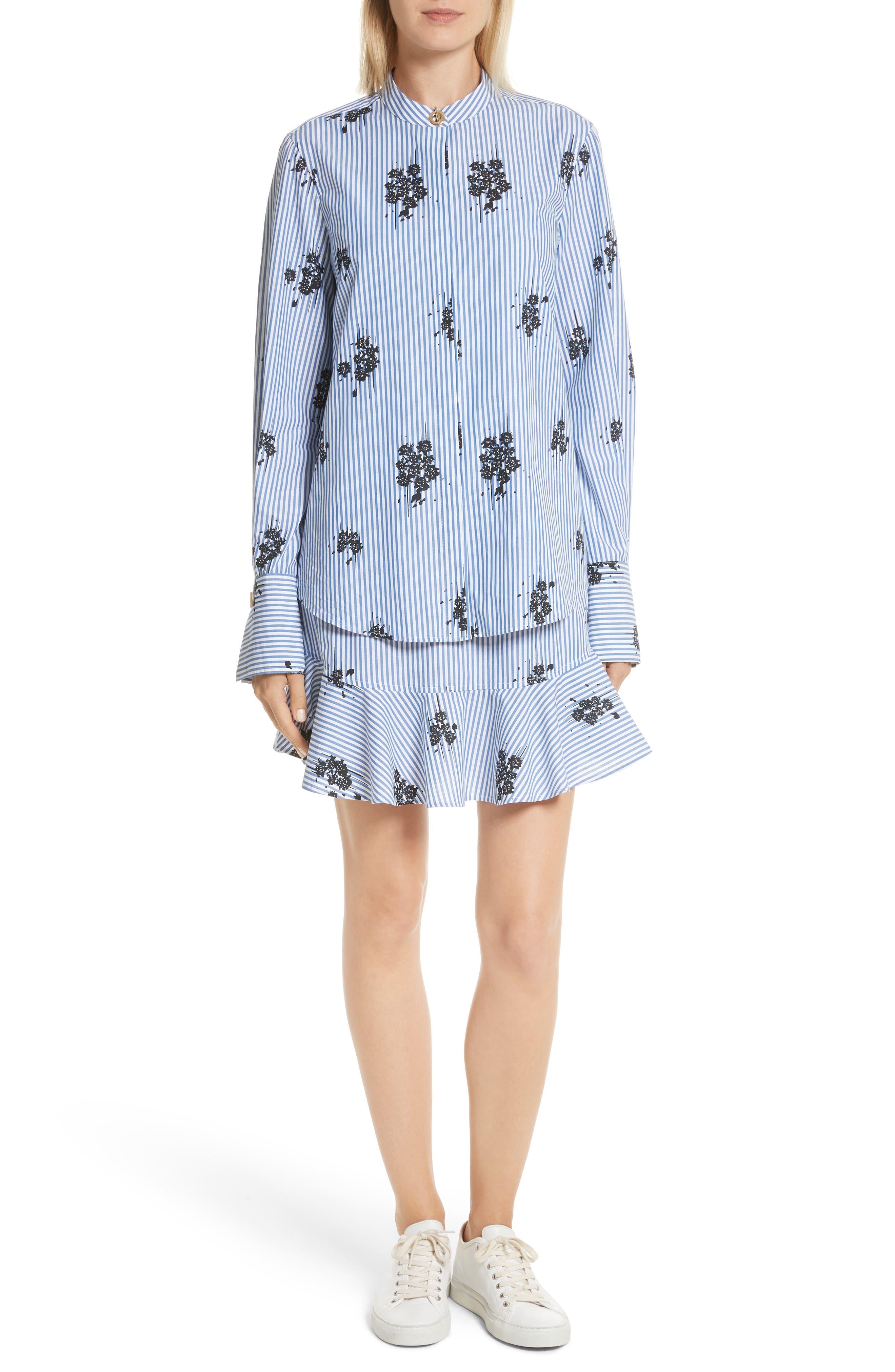 2-in-1 Ruffled Shirtdress,                             Main thumbnail 1, color,                             Blue