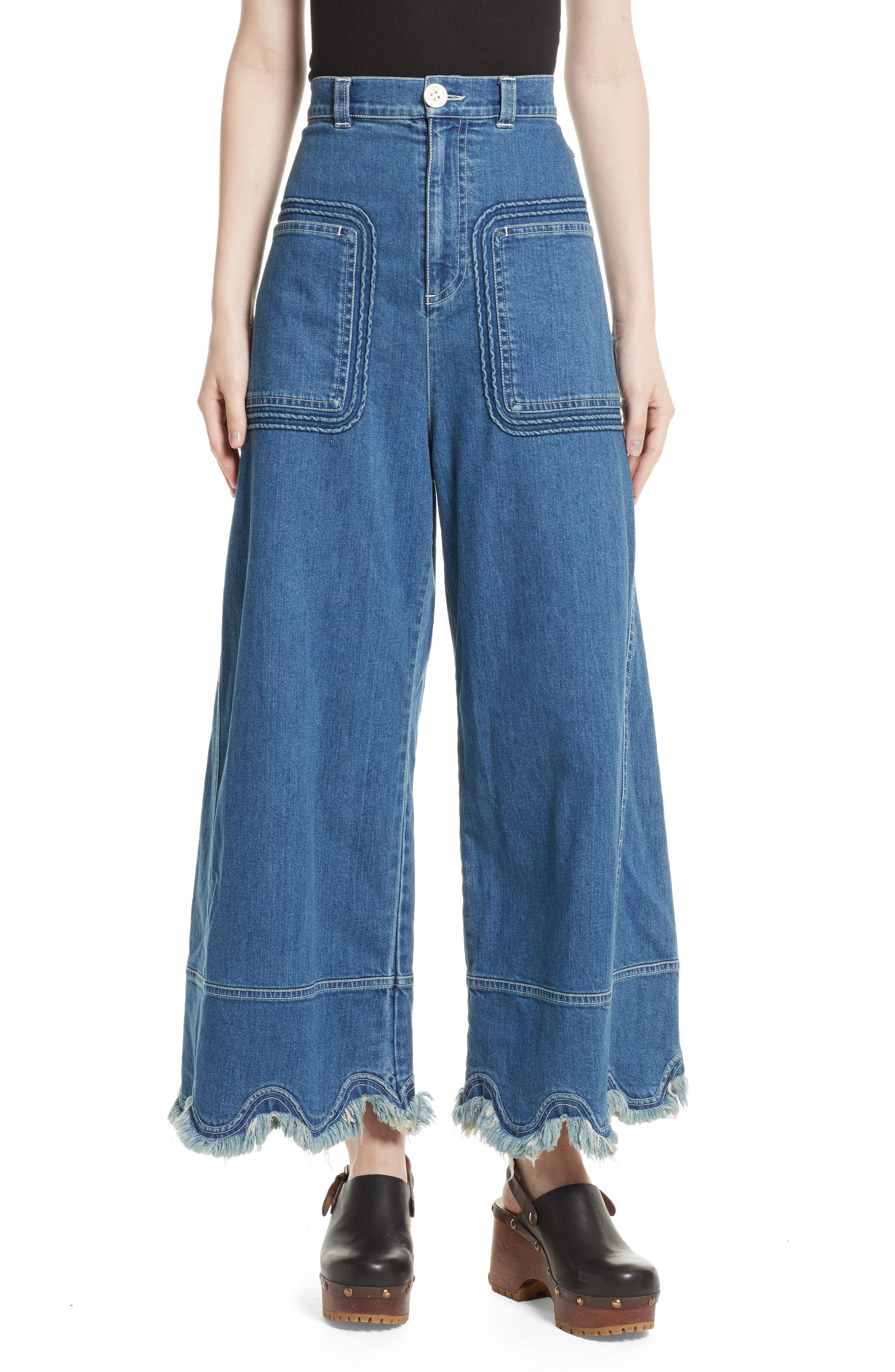 See by Chloé Scalloped Hem Wide Leg Jeans