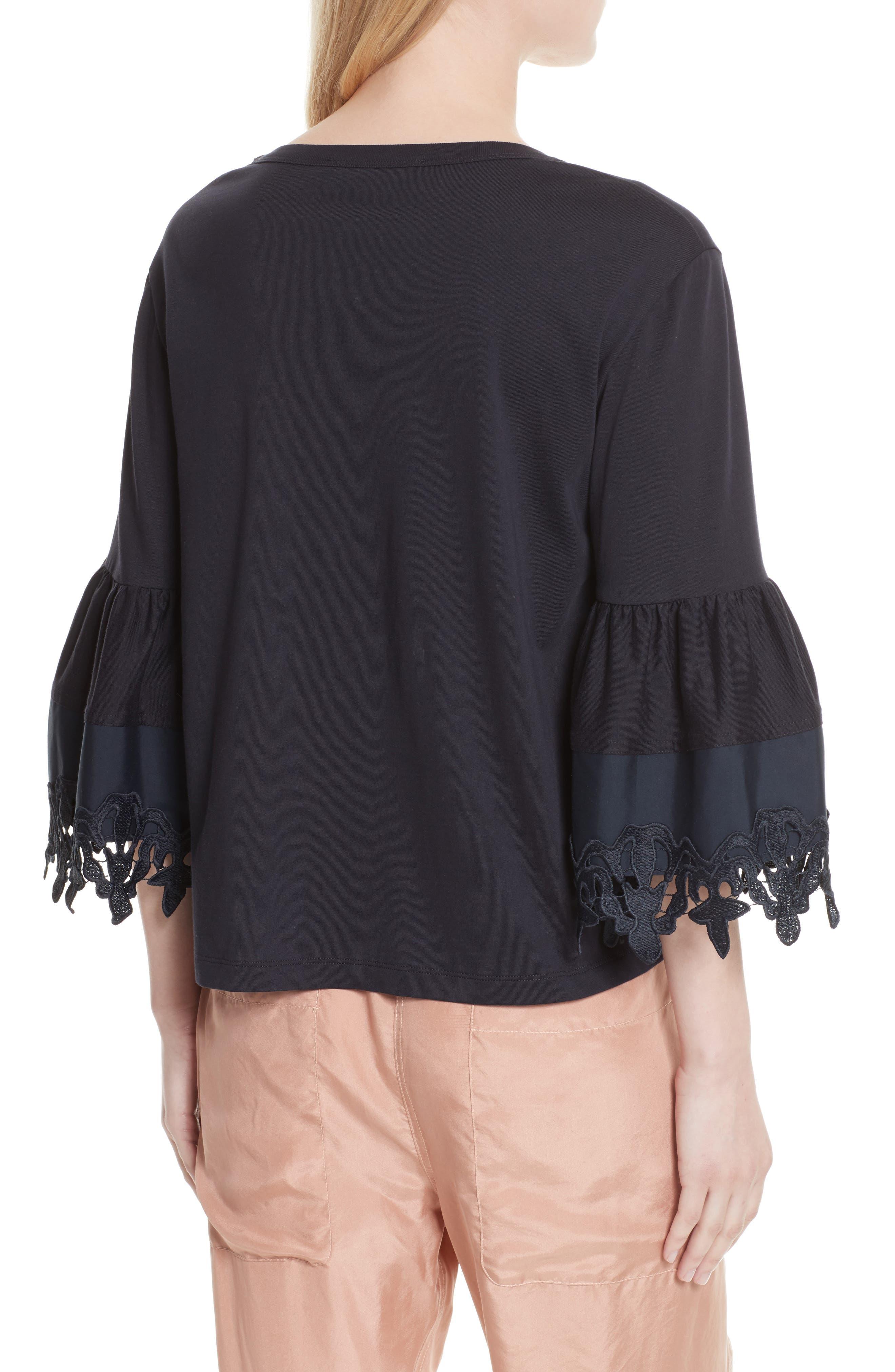 Lace Trim Bell Sleeve Top,                             Alternate thumbnail 2, color,                             Black