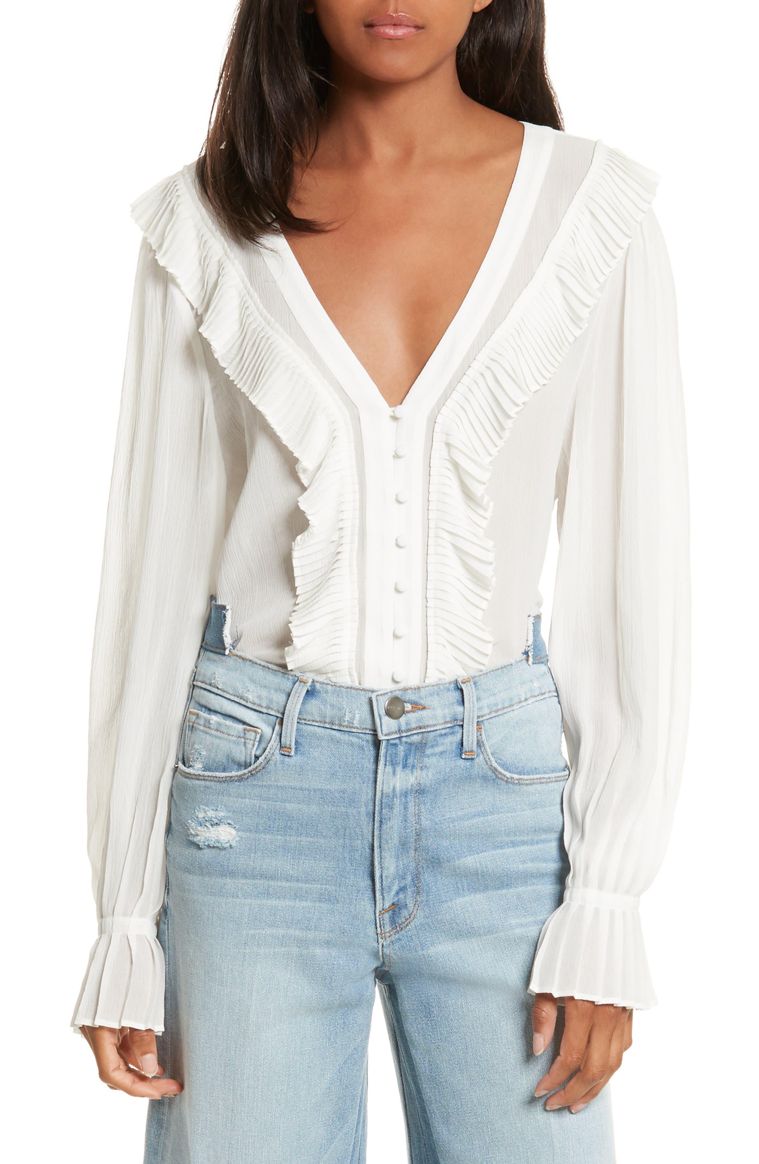 Ruffle Silk Blouse,                         Main,                         color, Off White