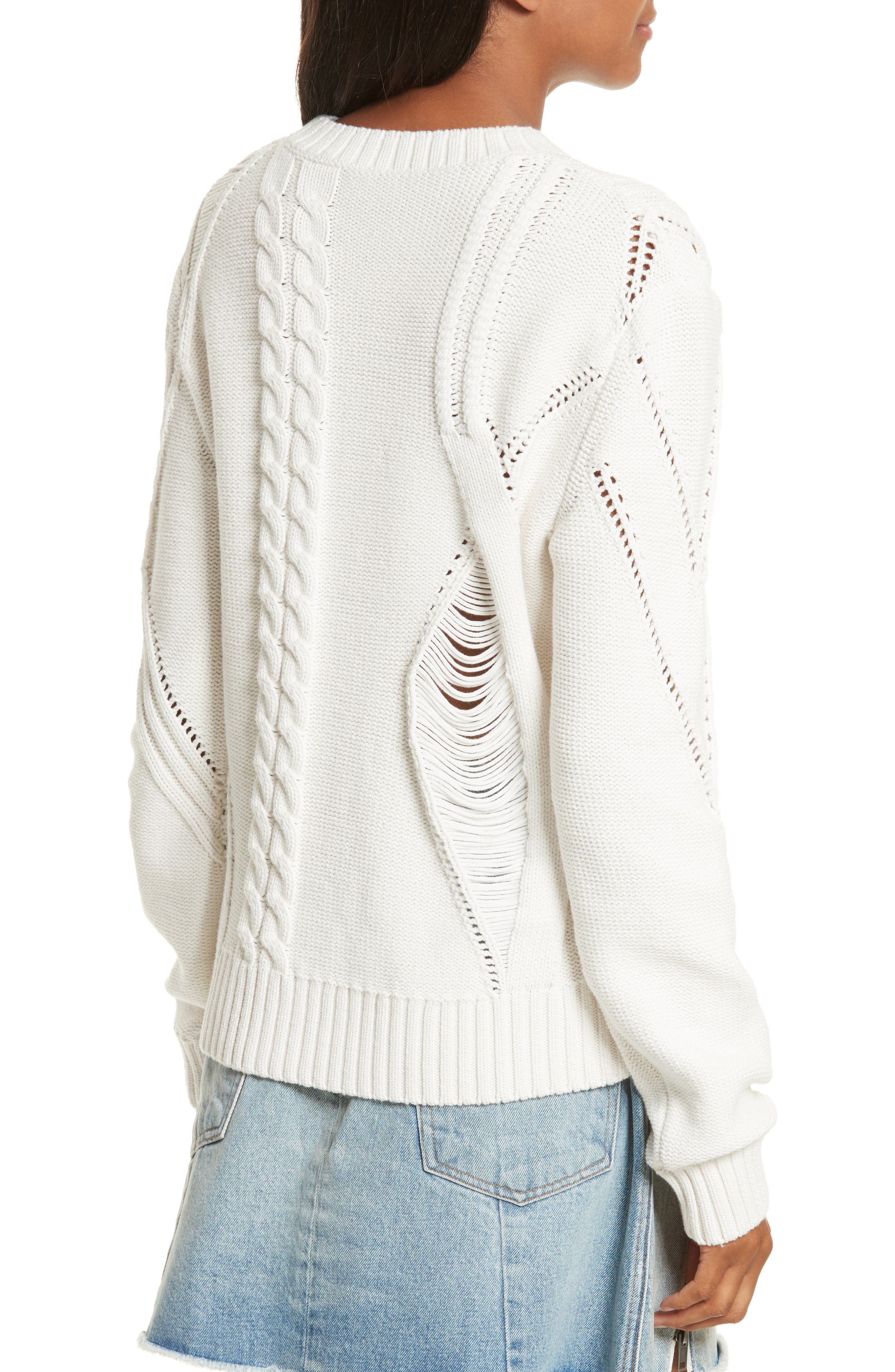 Cable Knit Sweater,                             Alternate thumbnail 2, color,                             Off White