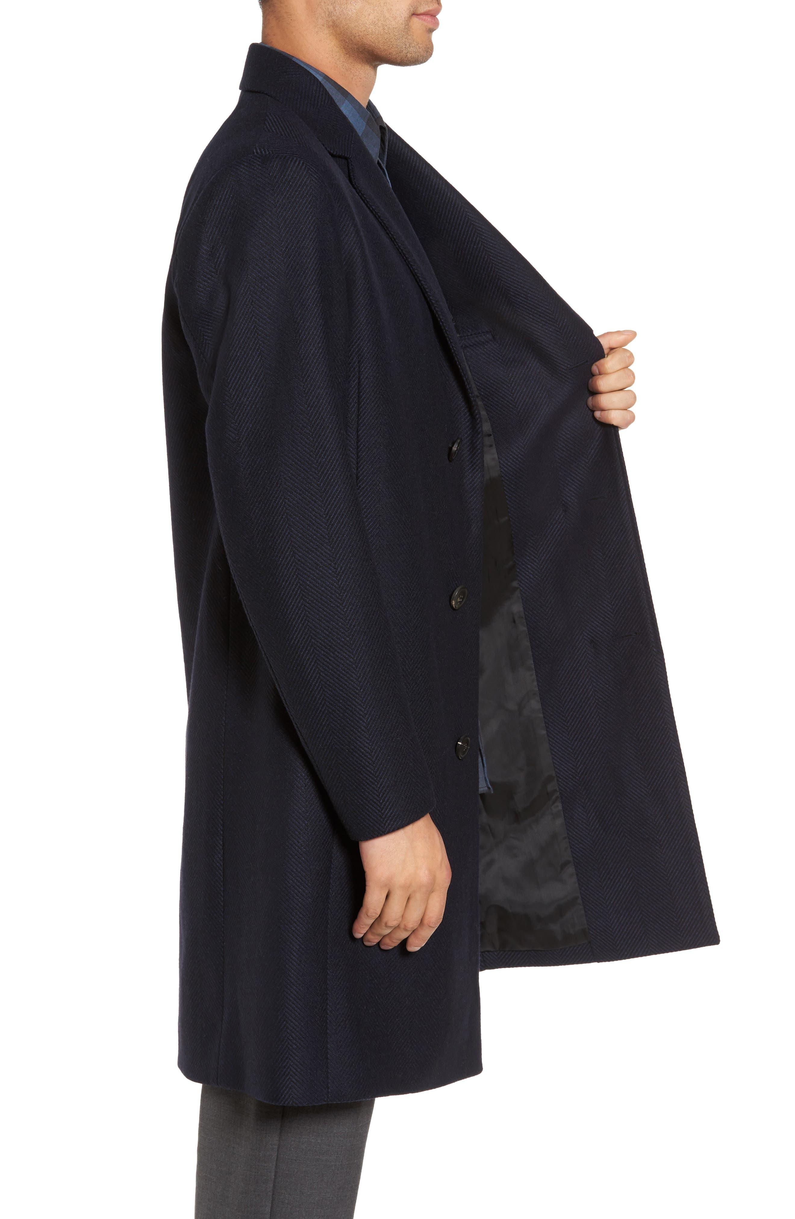 Bower Herringbone Wool Blend Topcoat,                             Alternate thumbnail 3, color,                             Liberty Multi