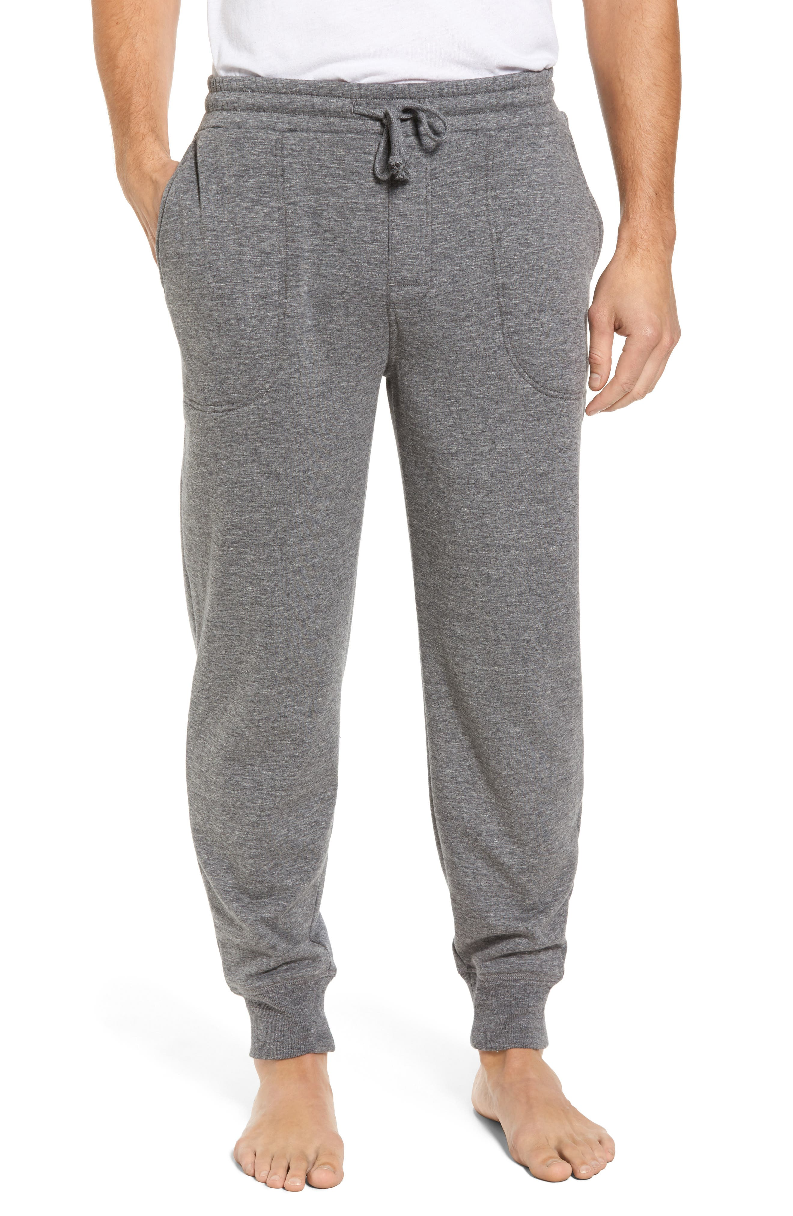 French Terry Pajama Pants,                         Main,                         color, Grey Heather