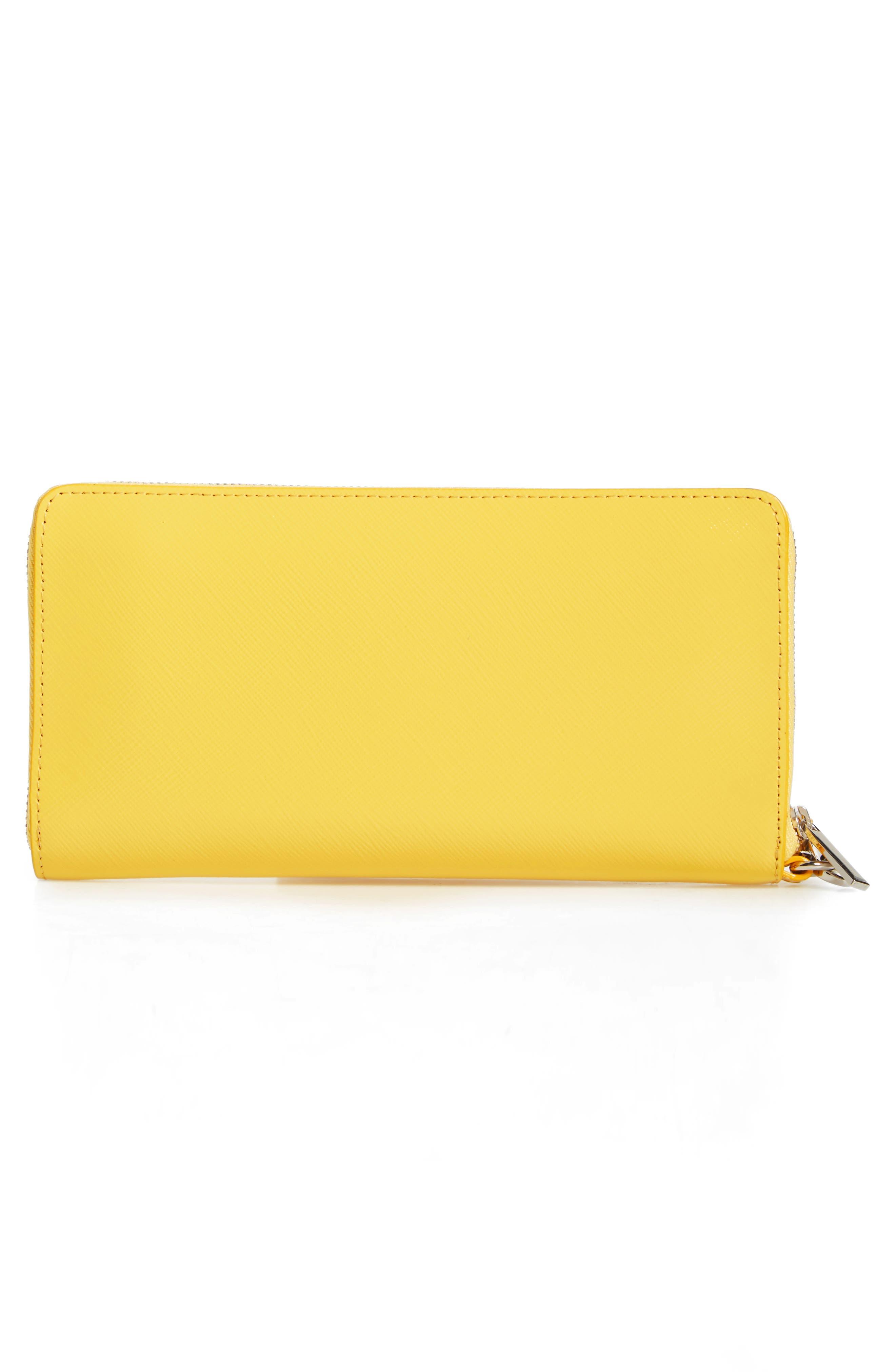 Leather Zip Around Wallet,                             Alternate thumbnail 6, color,                             Yellow Zest