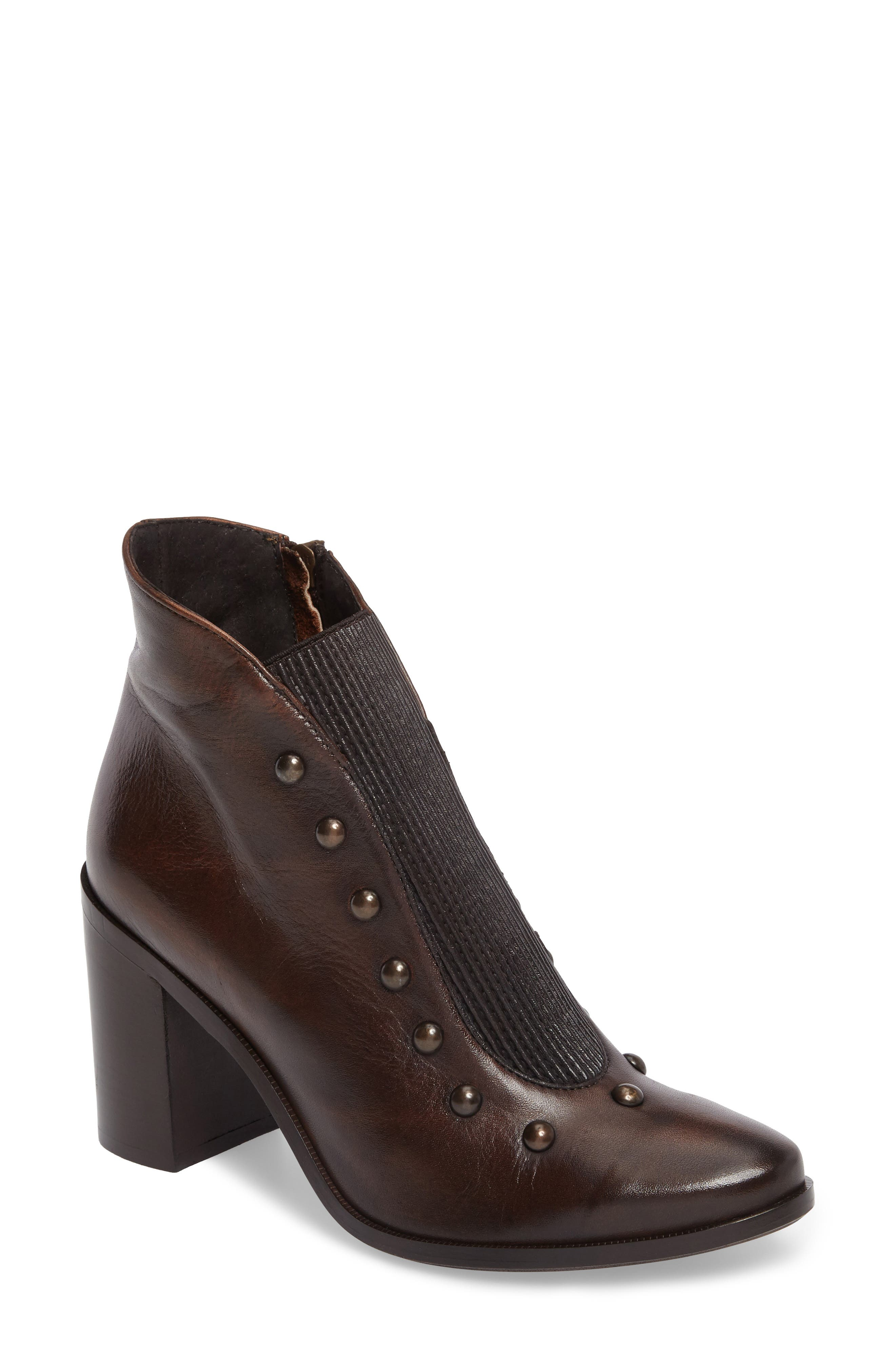 Beatrix Studded Bootie,                             Main thumbnail 1, color,                             Deer Leather