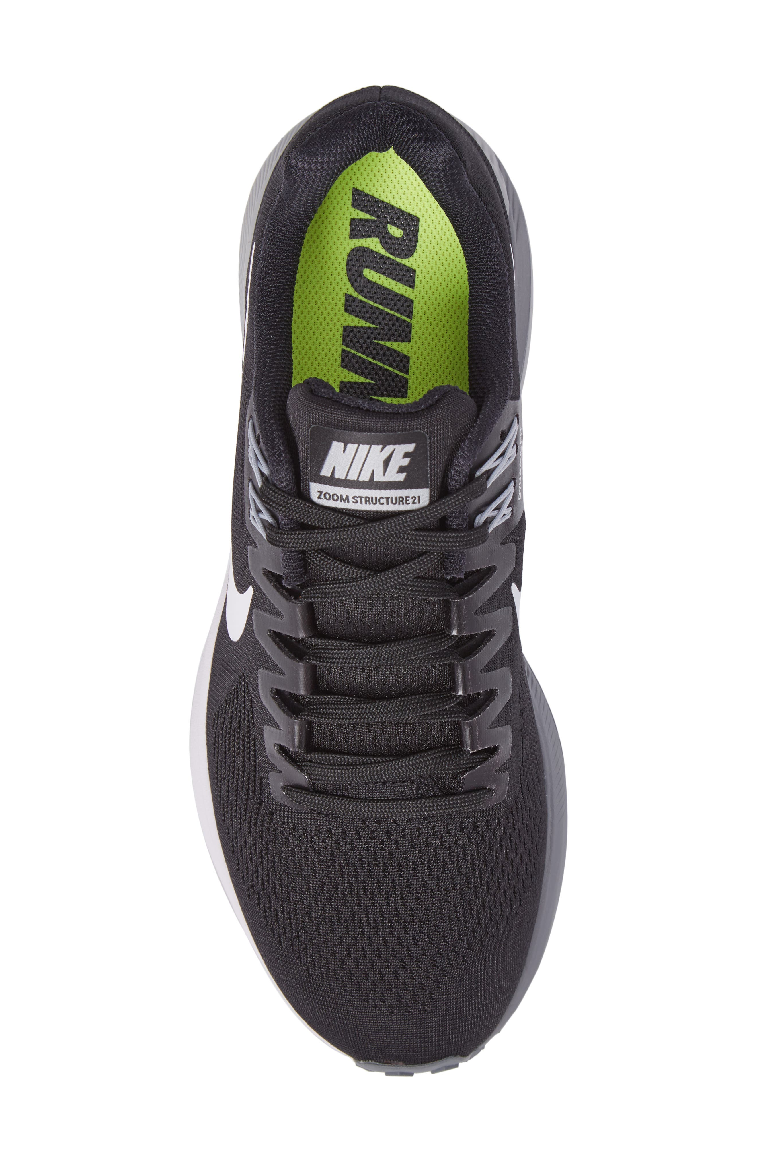 Air Zoom Structure 21 Running Shoe,                             Alternate thumbnail 5, color,                             Black/White/Wolf Grey