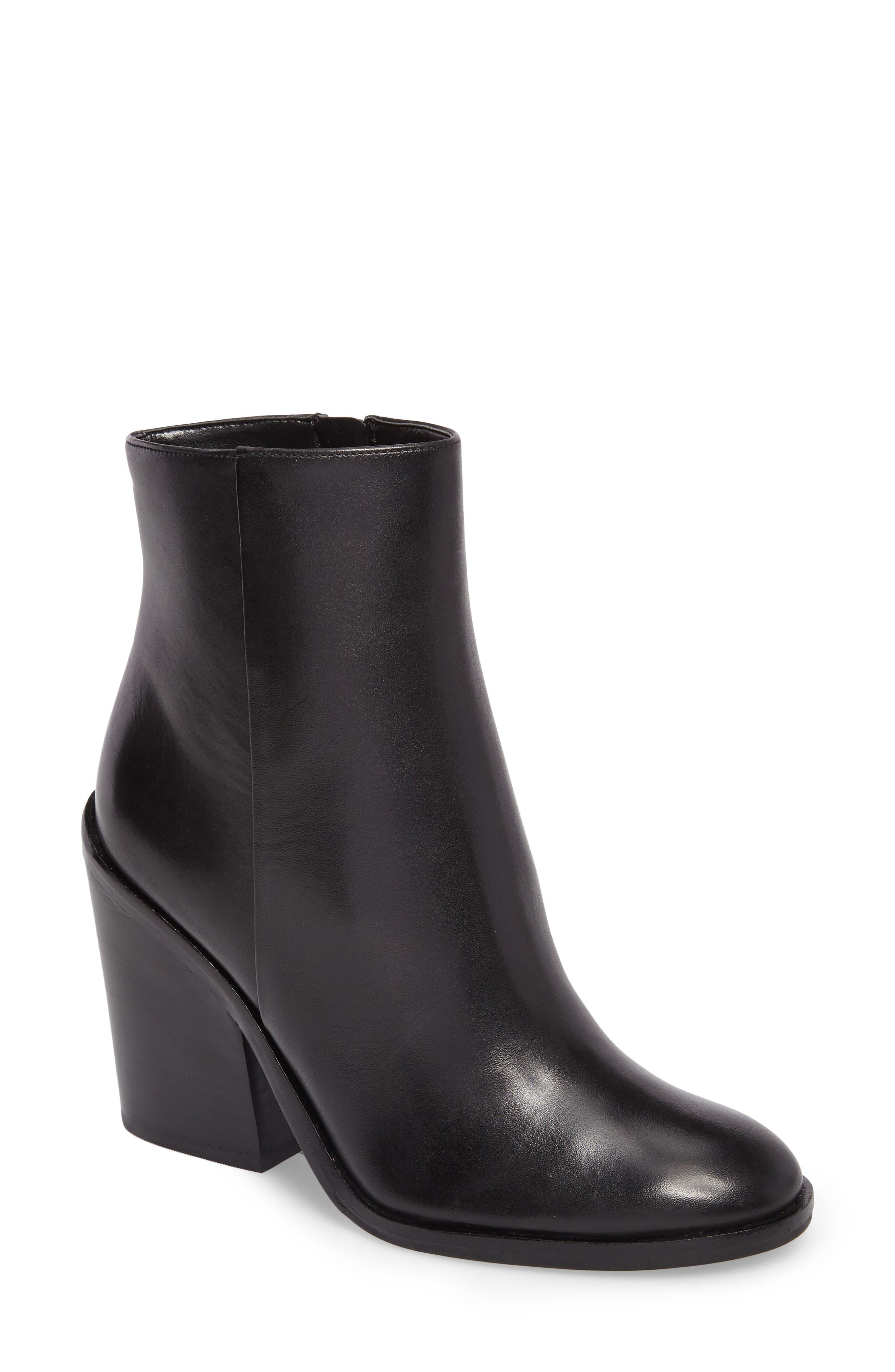 Mena Bootie,                         Main,                         color, Black Leather