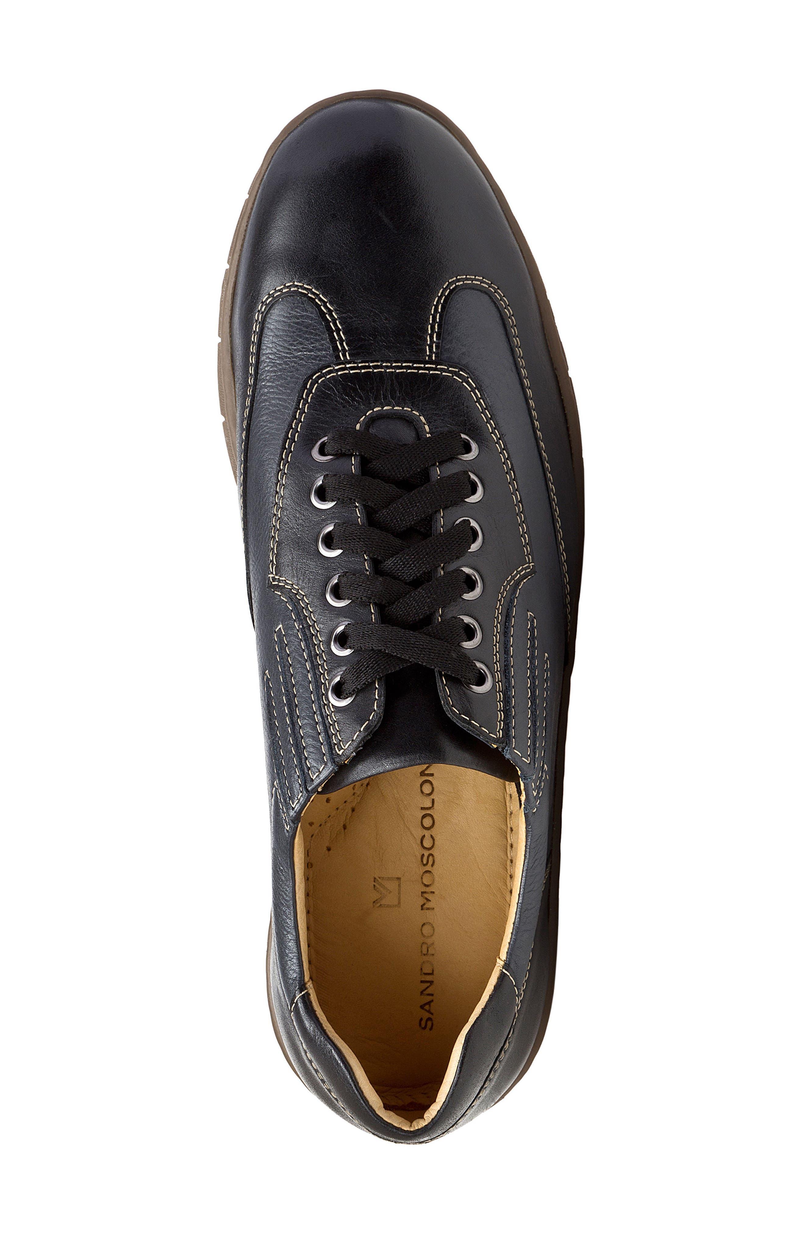 Vernon Sneaker,                             Alternate thumbnail 5, color,                             Black Leather